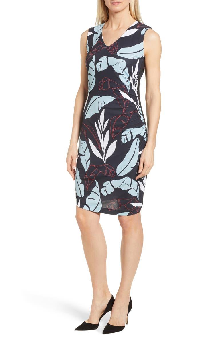 Erea Tropical Ruched Sheath Dress