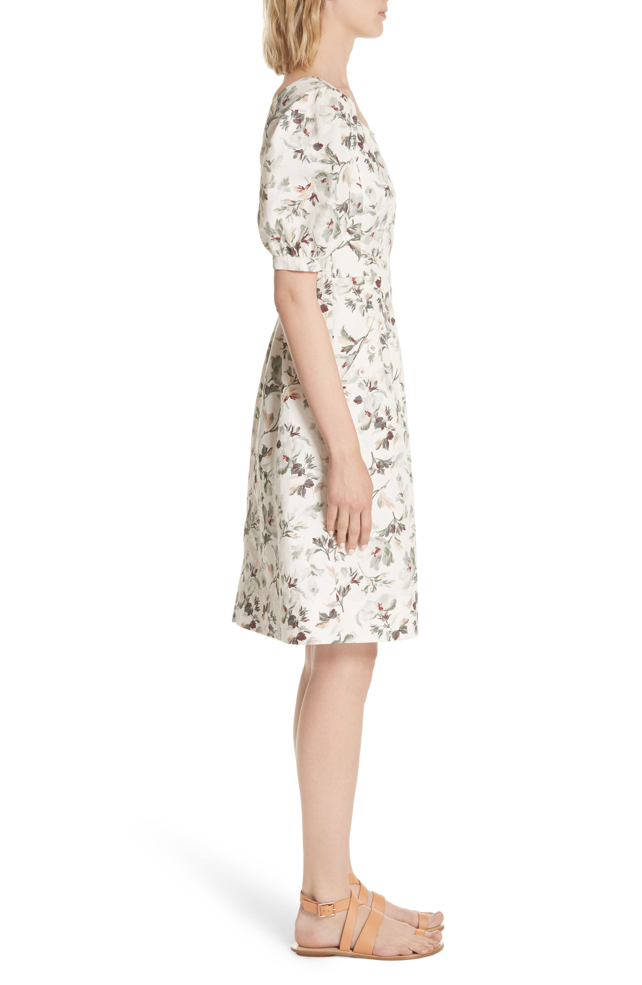 Puff Sleeve Floral Cotton Linen Dress,                             Alternate thumbnail 3, color,                             Vanilla Combo