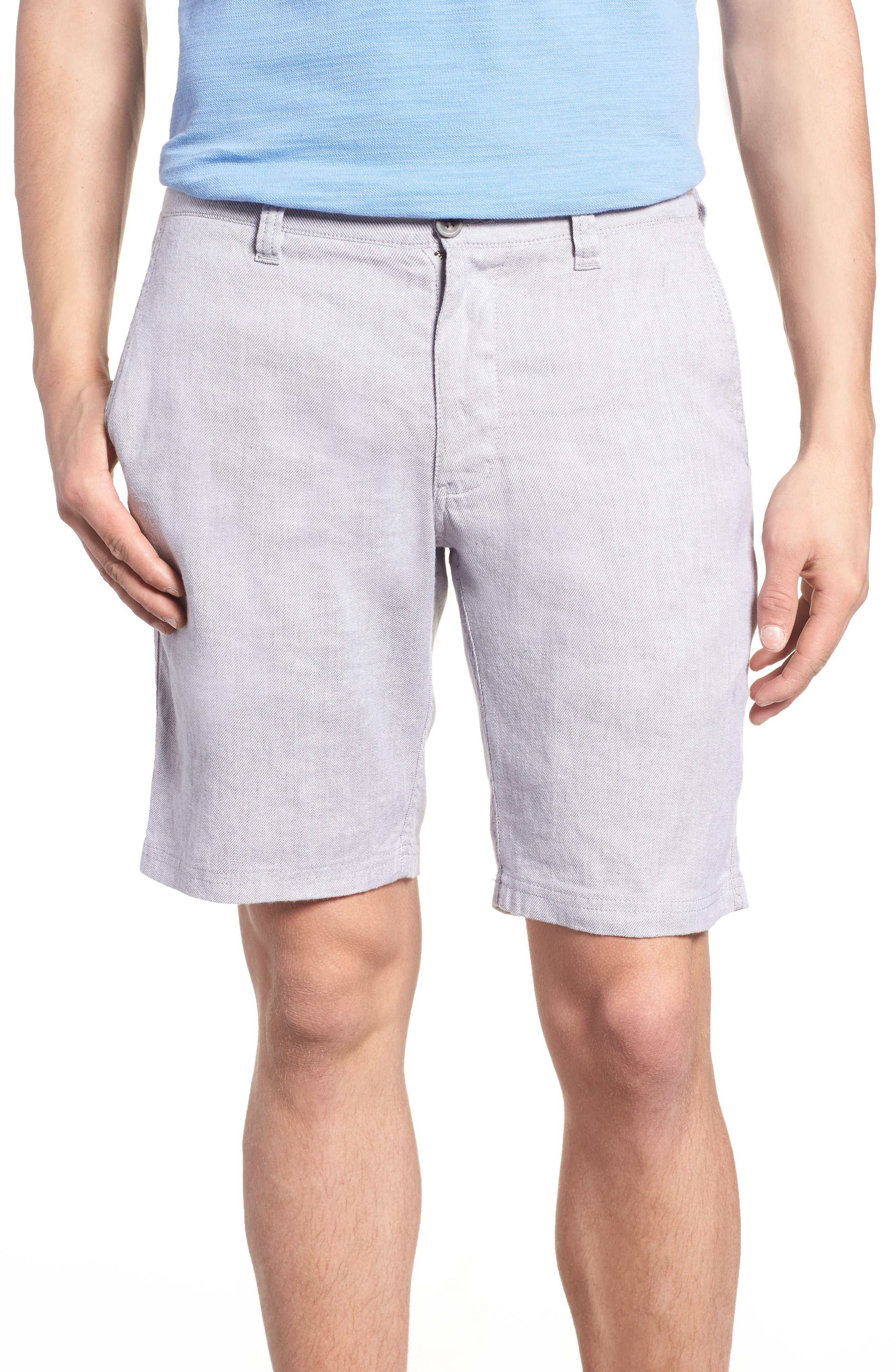 Beach Linen Blend Shorts,                             Main thumbnail 1, color,                             Storm Gray