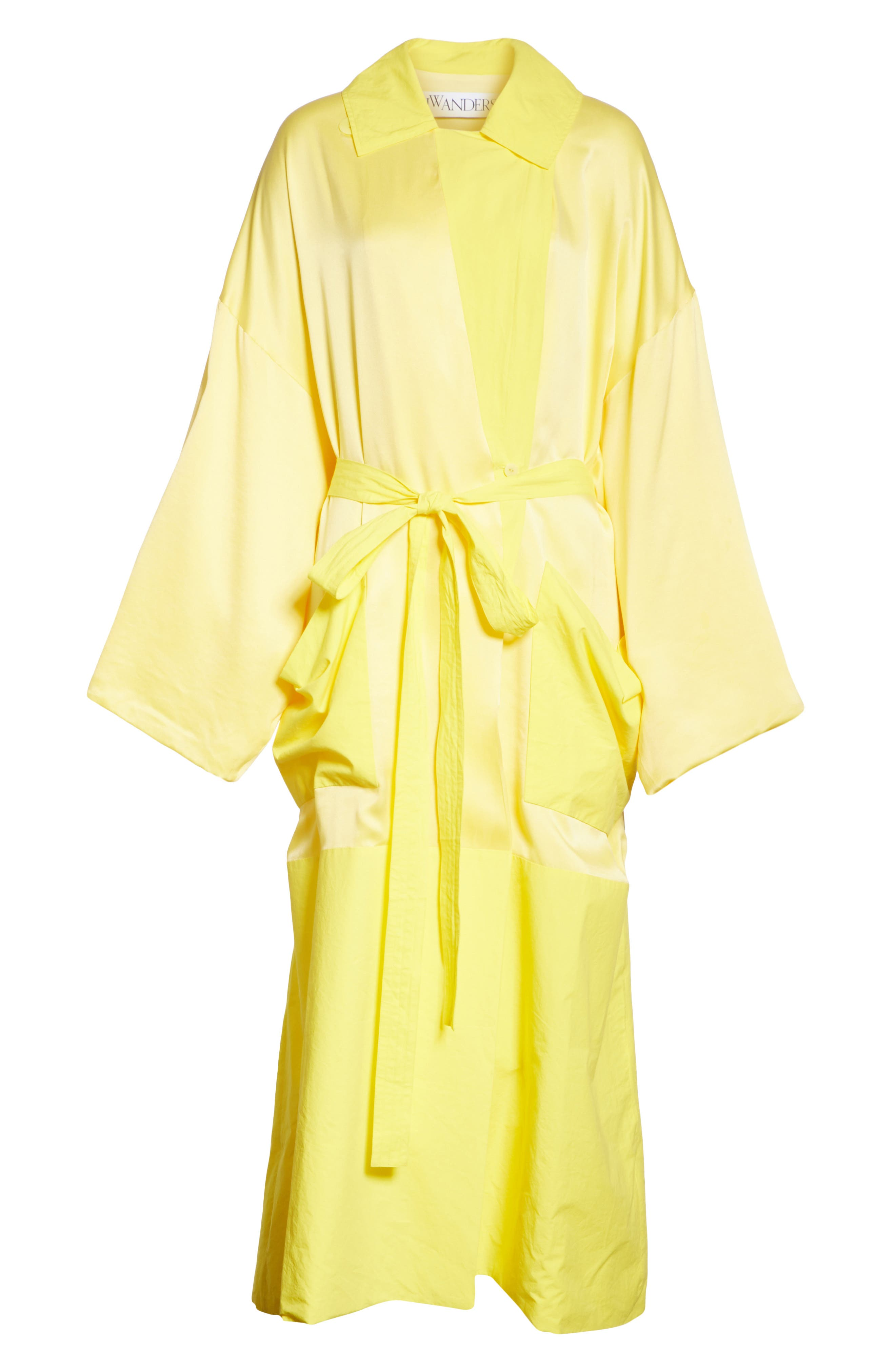 Soft Silk Wrap Coat,                             Alternate thumbnail 6, color,                             Buttercup
