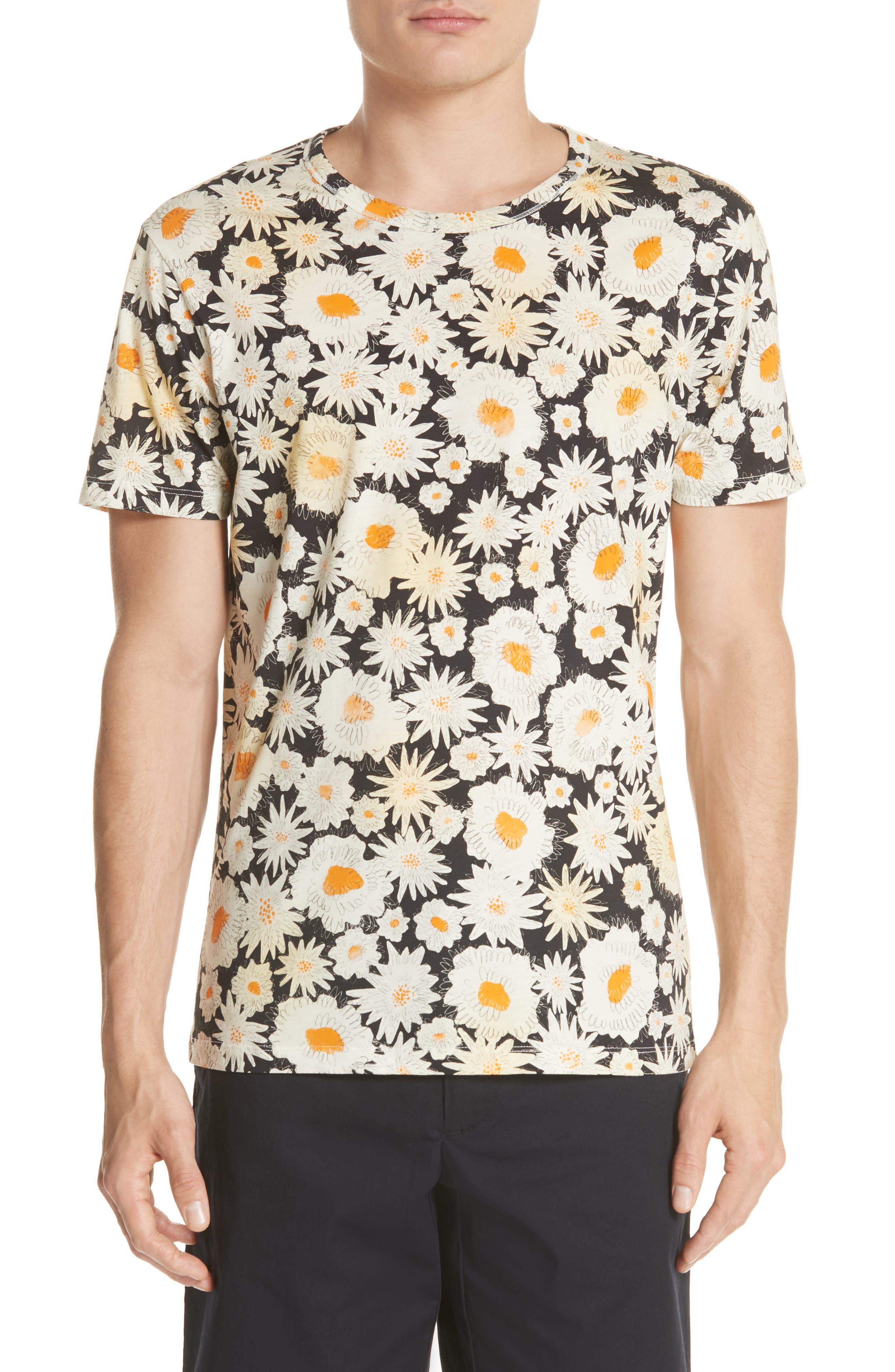 Adderton Flower Print T-Shirt,                             Main thumbnail 1, color,                             Black