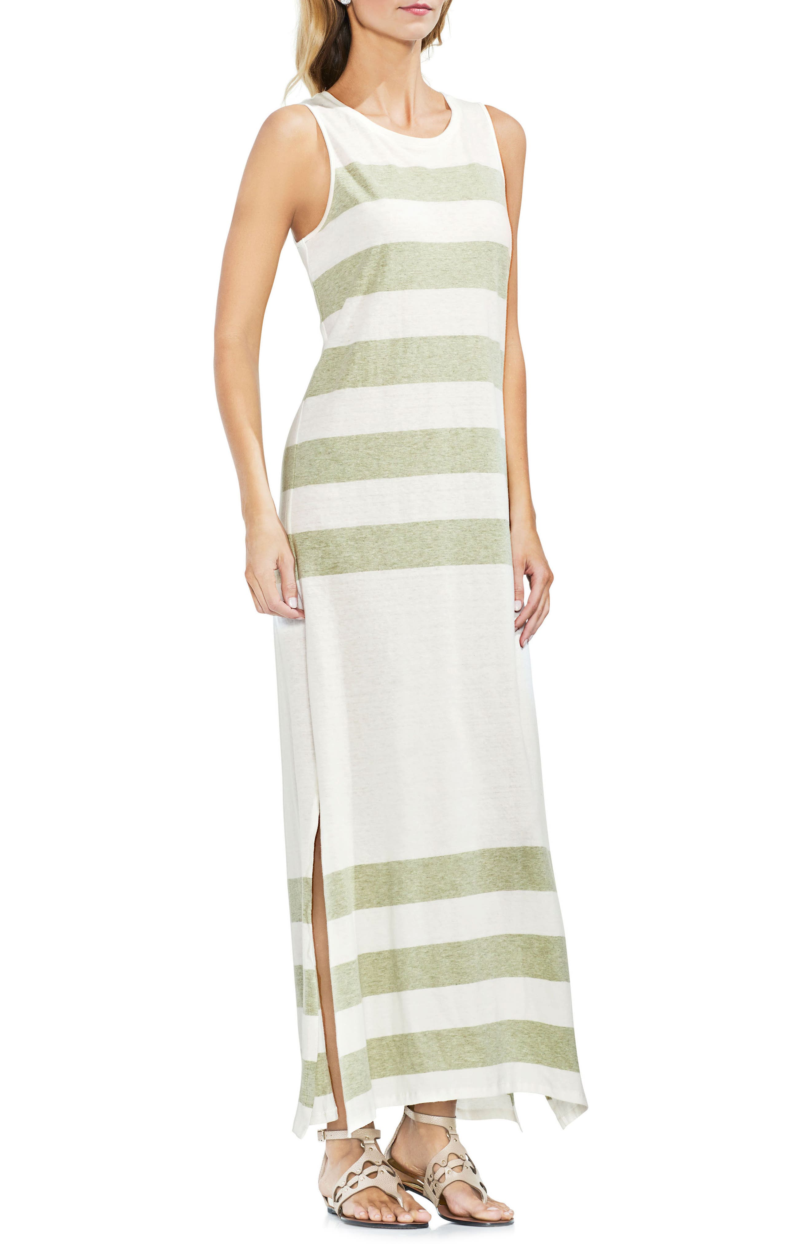 Striped Maxi Dress,                         Main,                         color, Sage Heather
