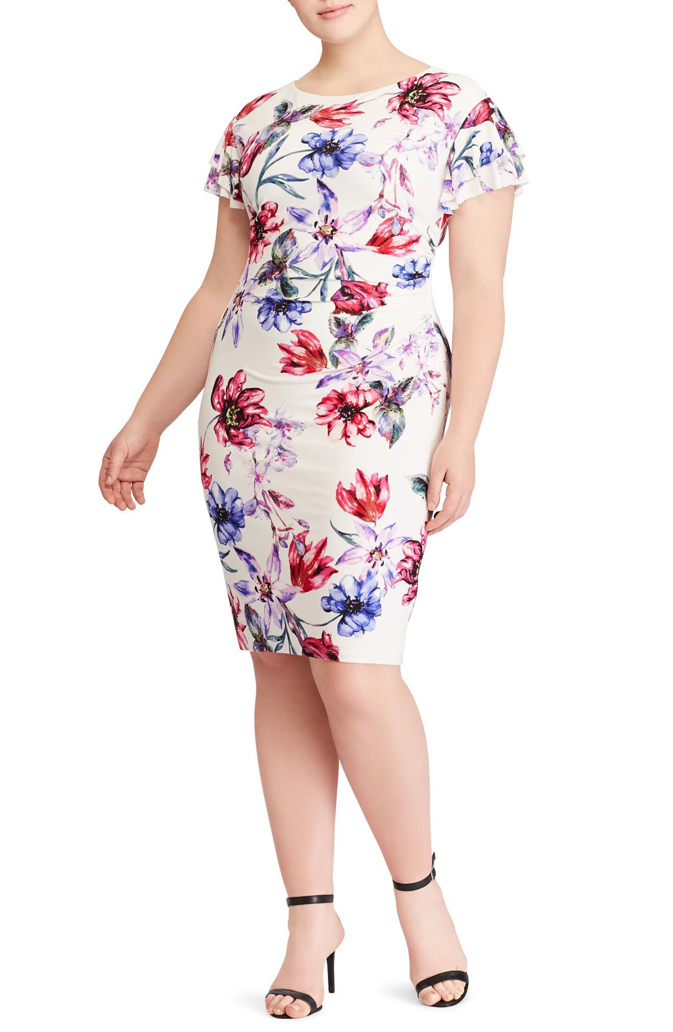 Lauren Ralph Lauren Latoya Swan Song Floral Jersey Sheath Dress (Plus Size)