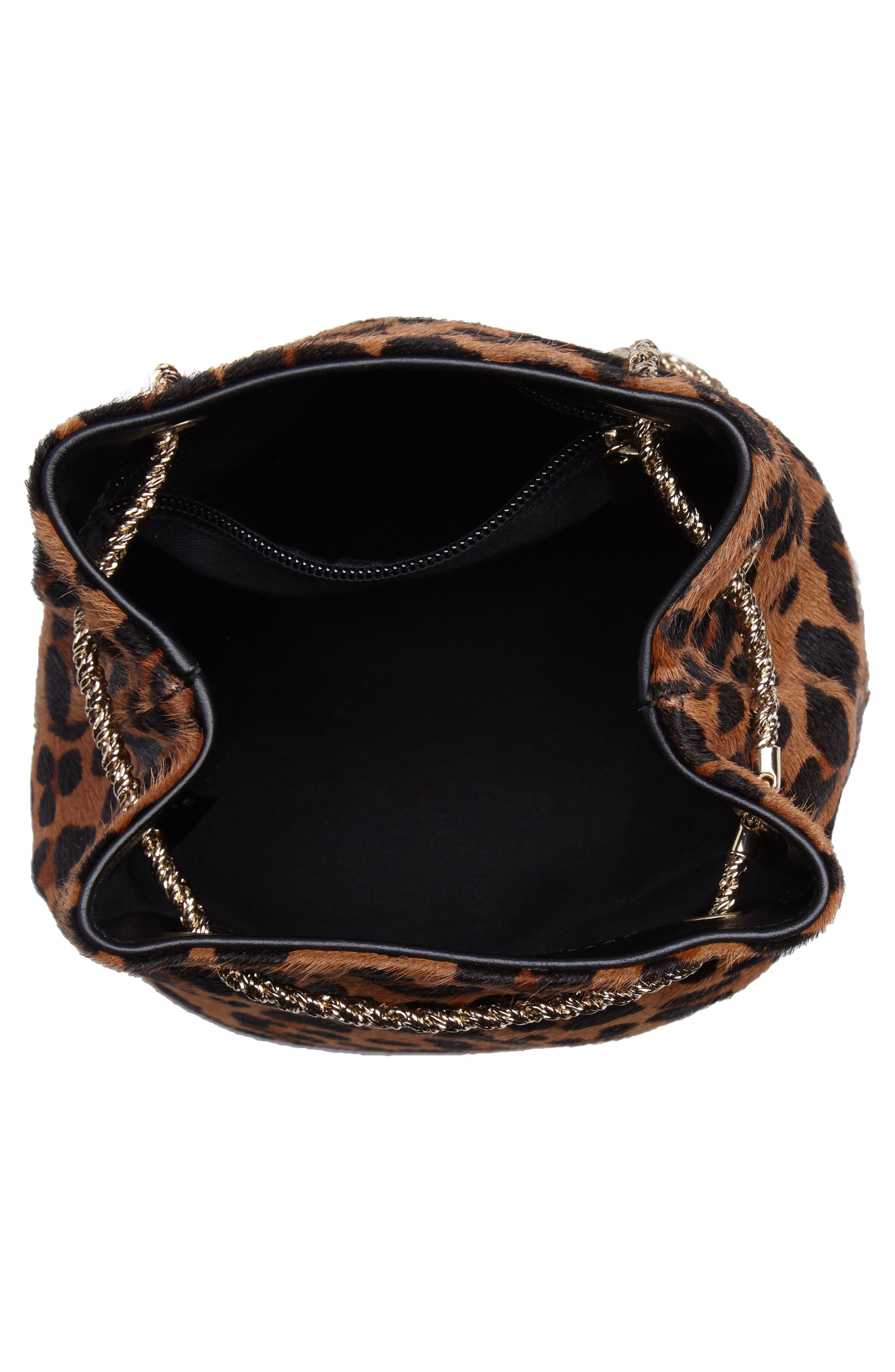 Hope Genuine Calf Hair Bucket Bag,                             Alternate thumbnail 4, color,                             Leaopard/ Maroquinerie