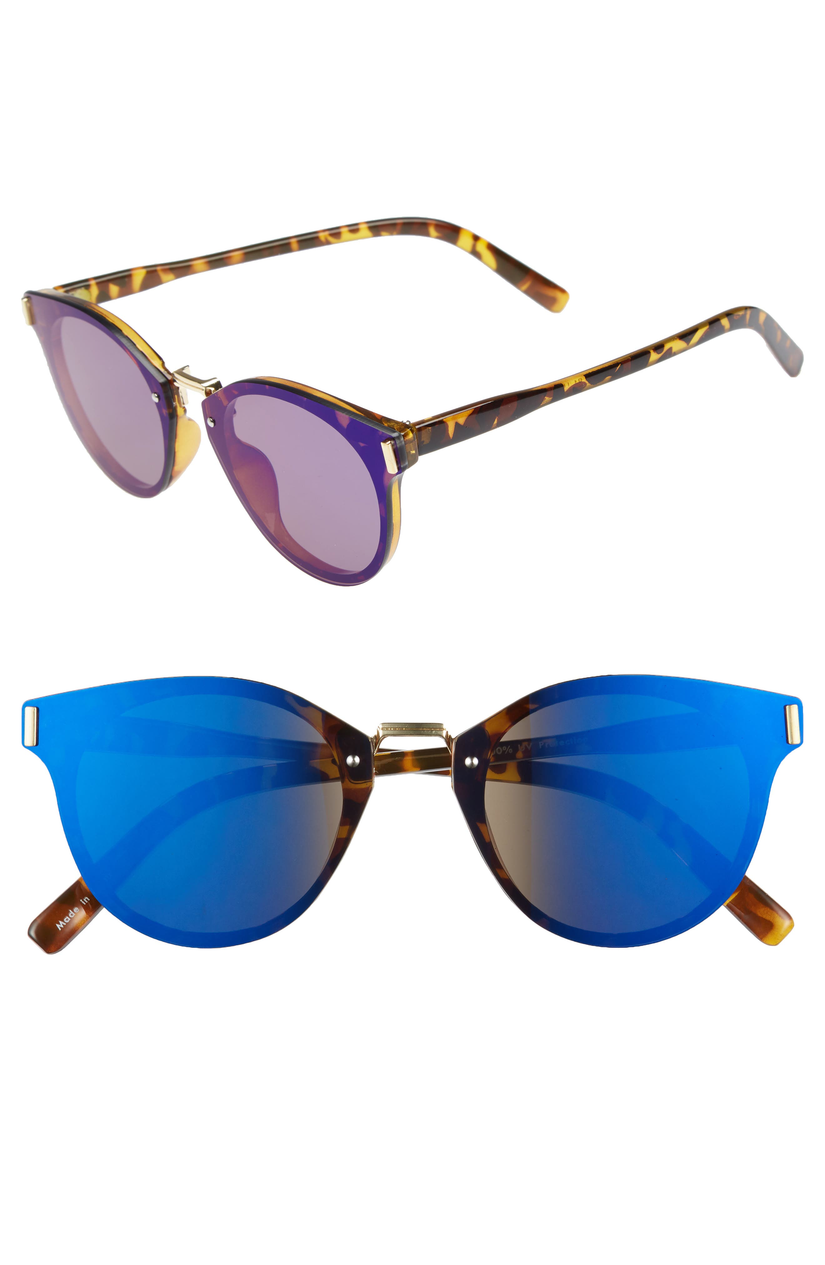 Flat Cat Eye Sunglasses,                             Main thumbnail 1, color,                             Tort/ Blue