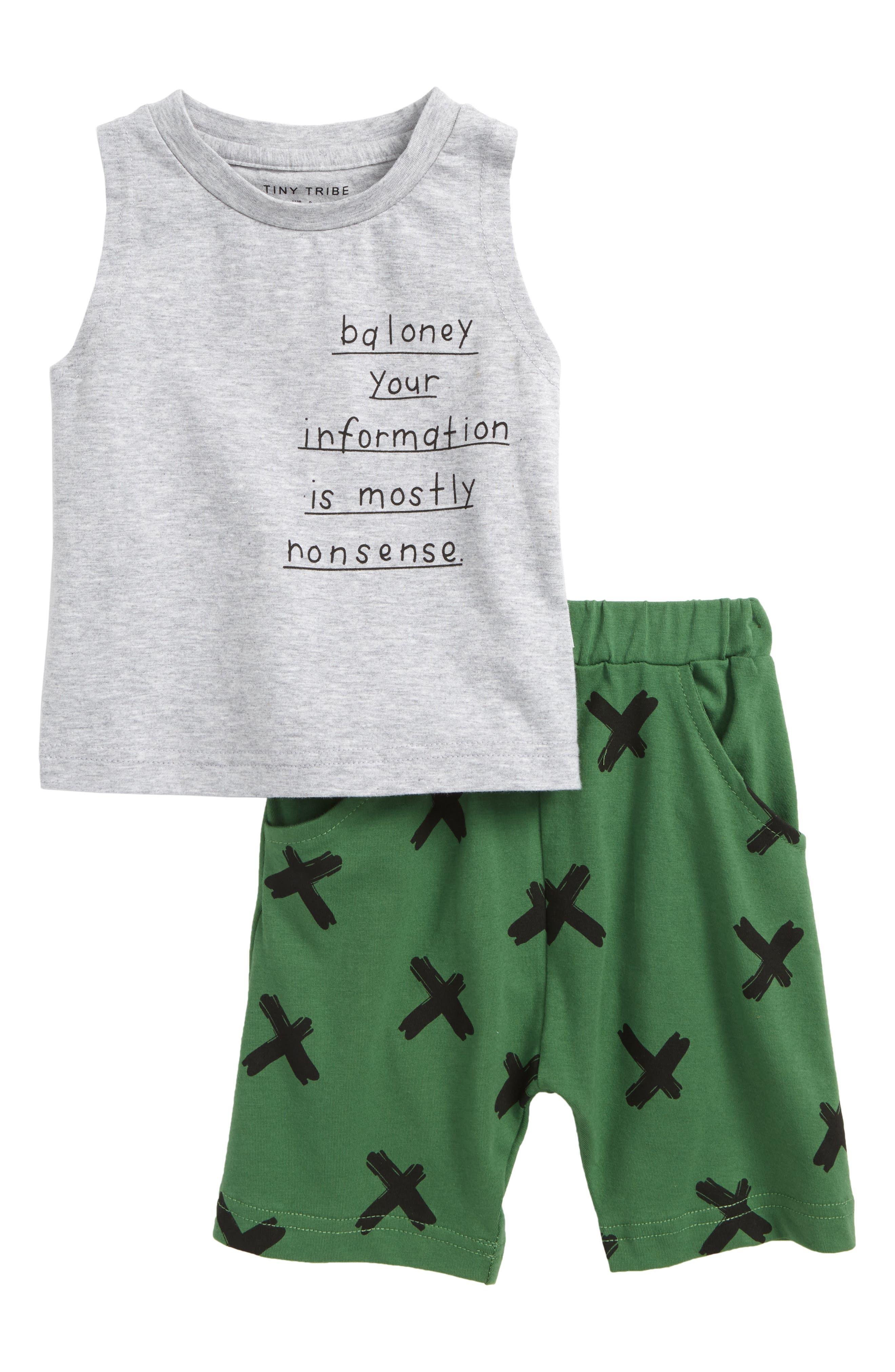 Baloney Tank Top & Shorts Set,                             Main thumbnail 1, color,                             Grey/ Green