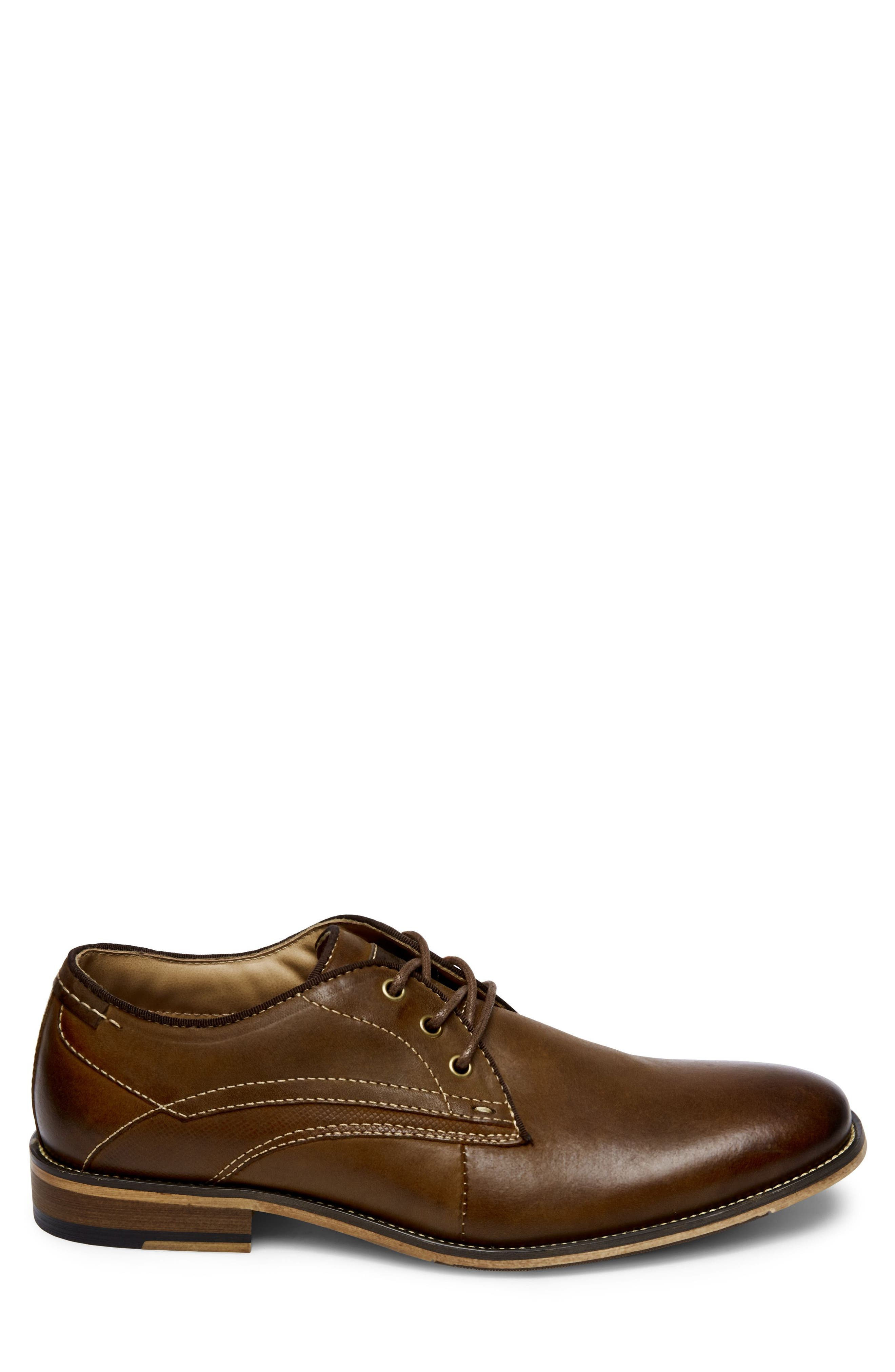 Jetset Plain Toe Derby,                             Alternate thumbnail 3, color,                             Dark Tan Leather