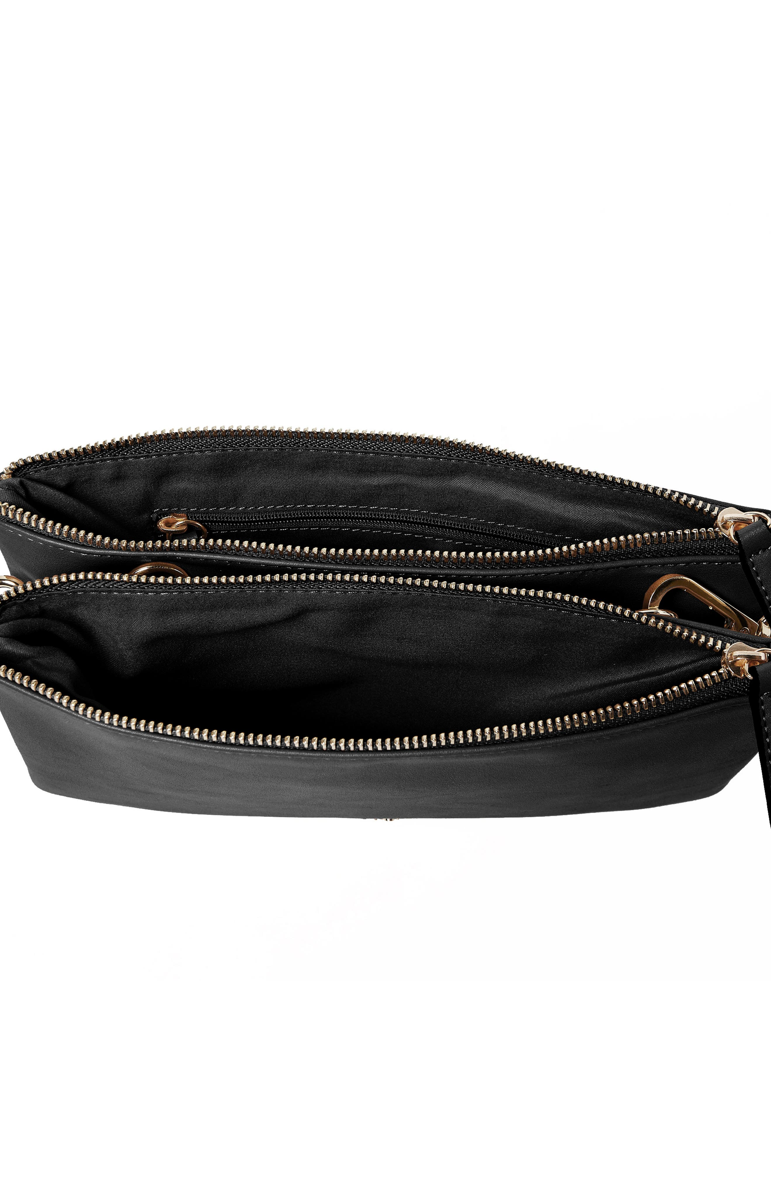 The Enchanted Vegan Leather Crossbody Bag,                             Alternate thumbnail 3, color,                             Black