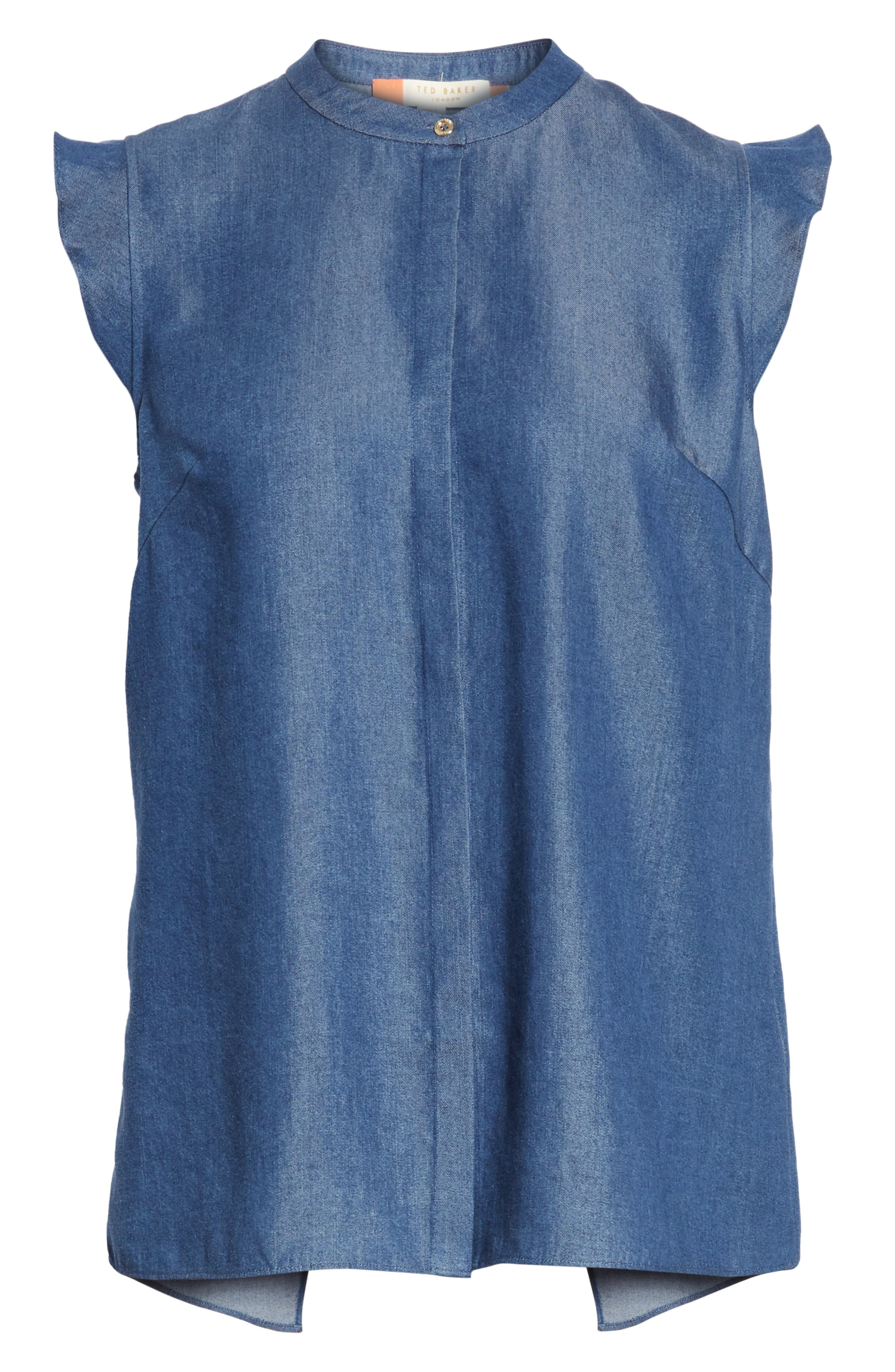 Colour by Numbers Denim Top,                             Alternate thumbnail 6, color,                             Mid-Wash