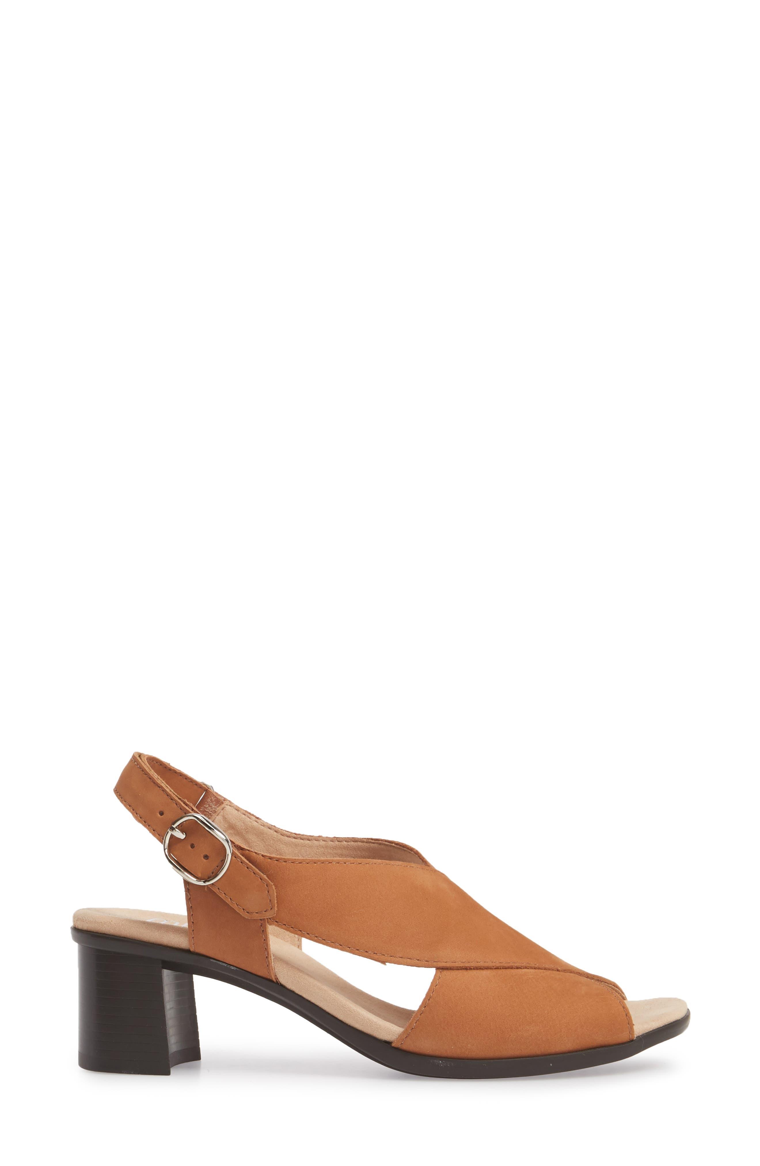 Laine Block Heel Sandal,                             Alternate thumbnail 3, color,                             Brown Nubuck Leather