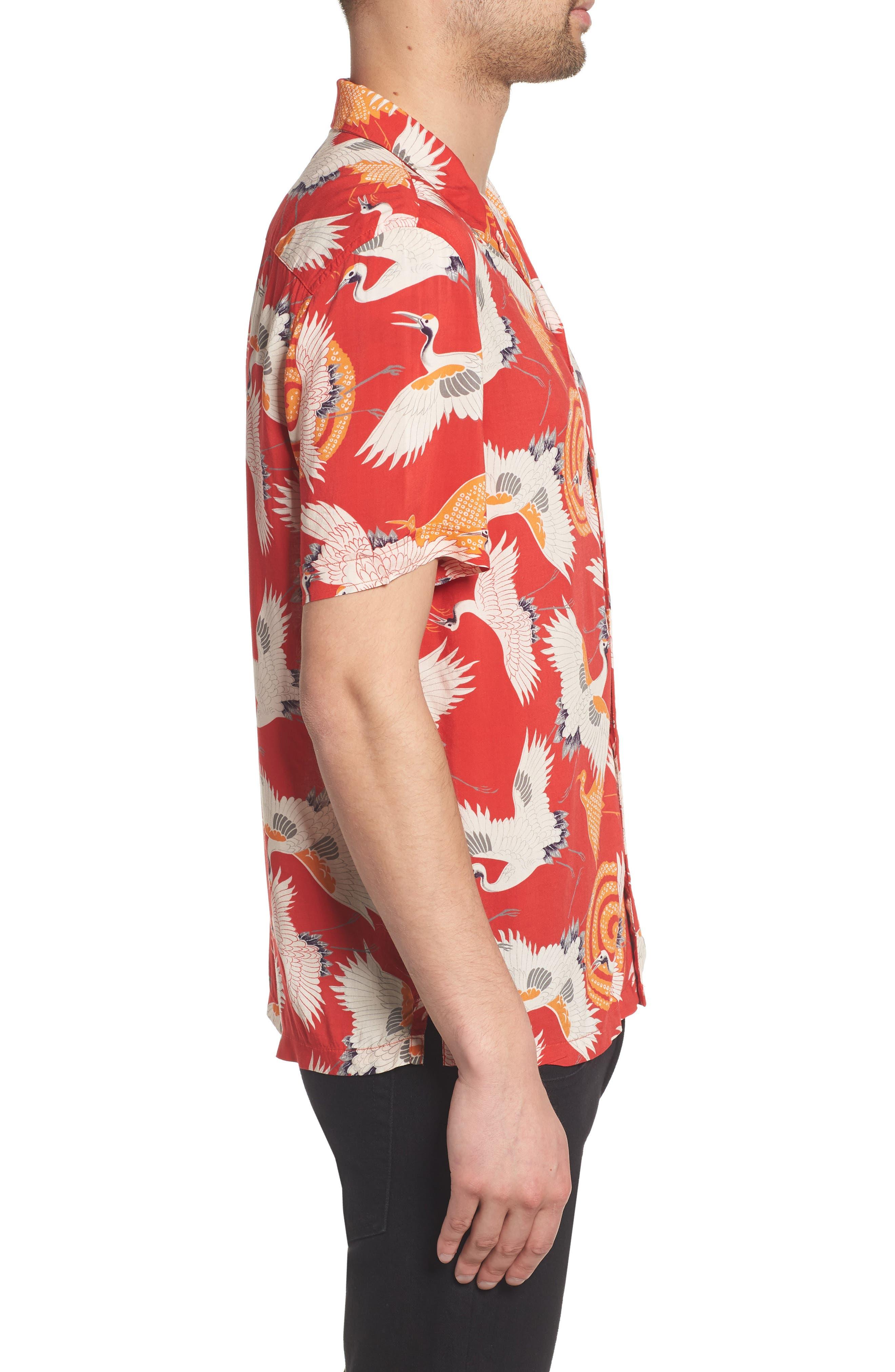 Tsuru Regular Fit Short Sleeve Sport Shirt,                             Alternate thumbnail 4, color,                             Red