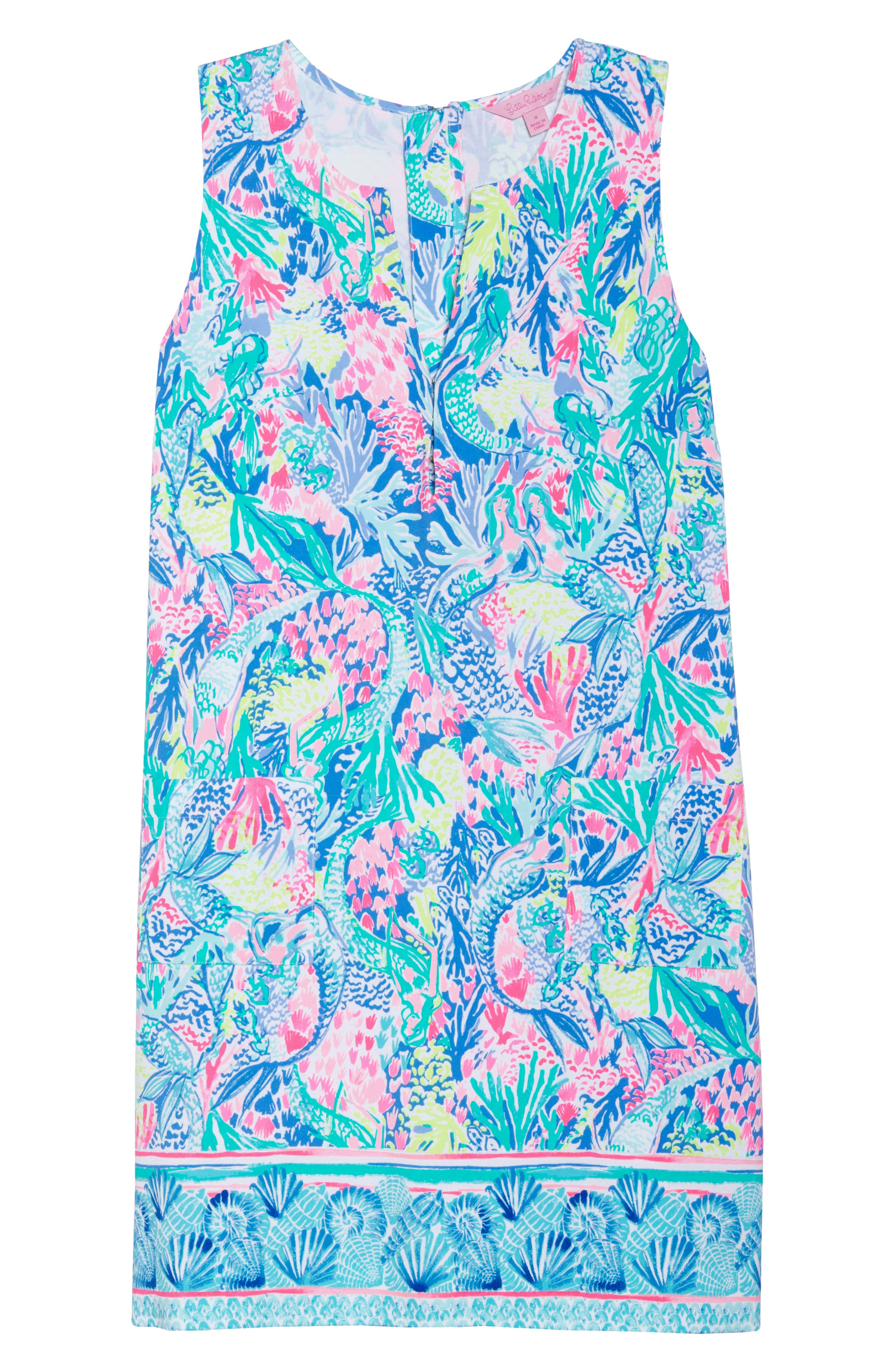 Kelby Stretch Shift Dress,                             Alternate thumbnail 6, color,                             Multi Mermaids Cove