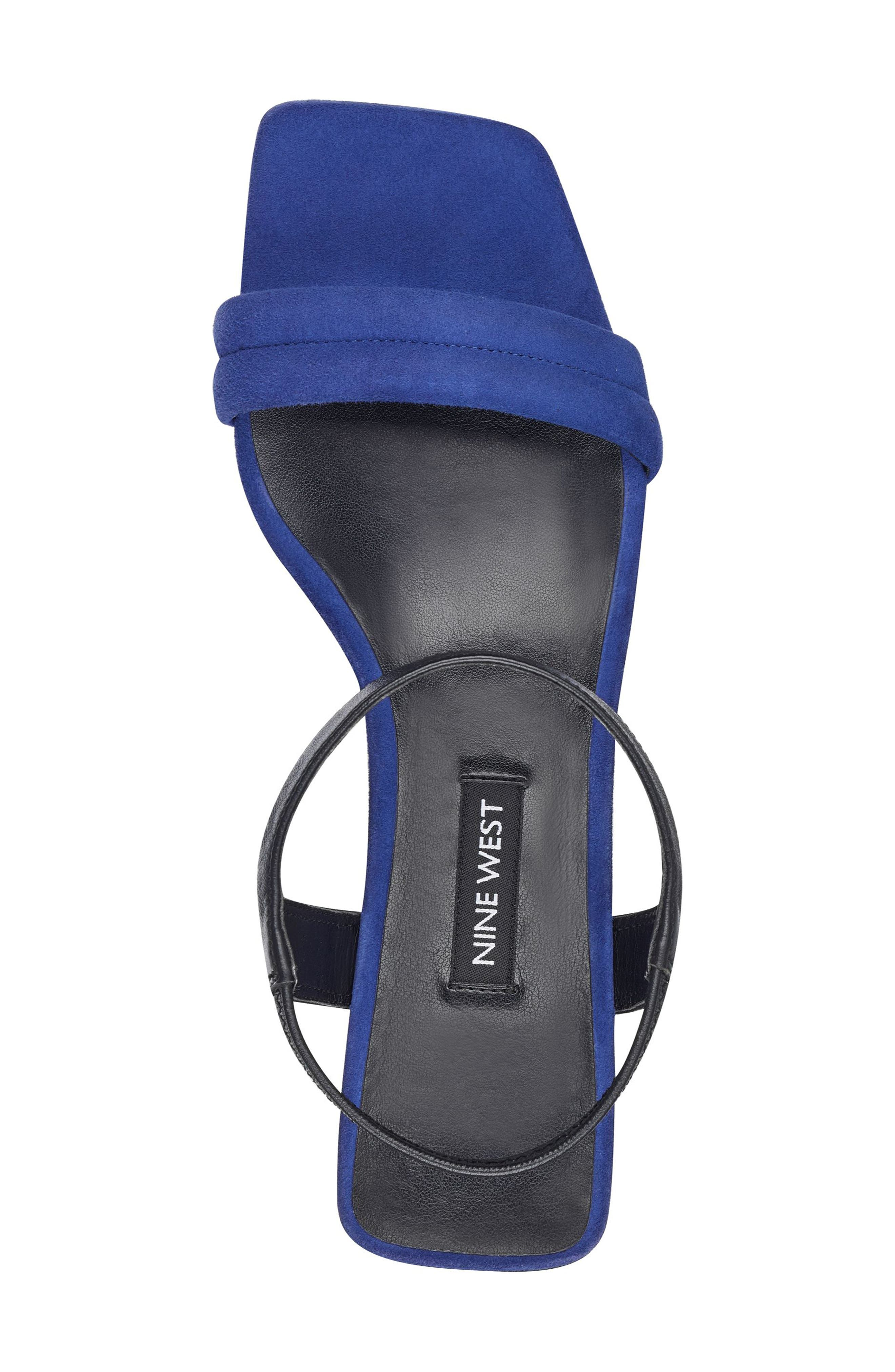 Urgreat Ankle Strap Sandal,                             Alternate thumbnail 4, color,                             Dark Blue/ Black Suede
