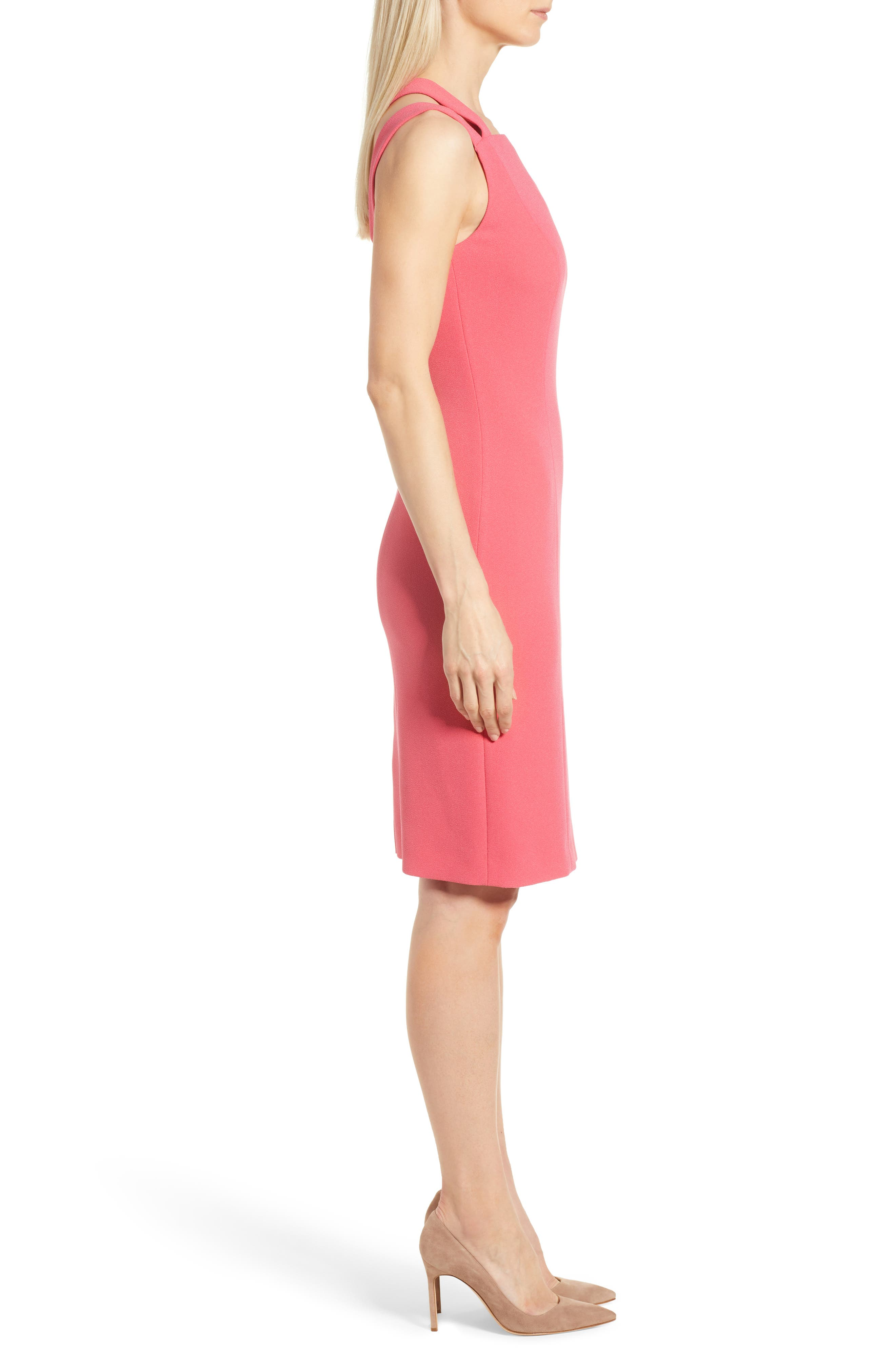 Daphima Compact Crepe Sheath Dress,                             Alternate thumbnail 3, color,                             Lychee Pink