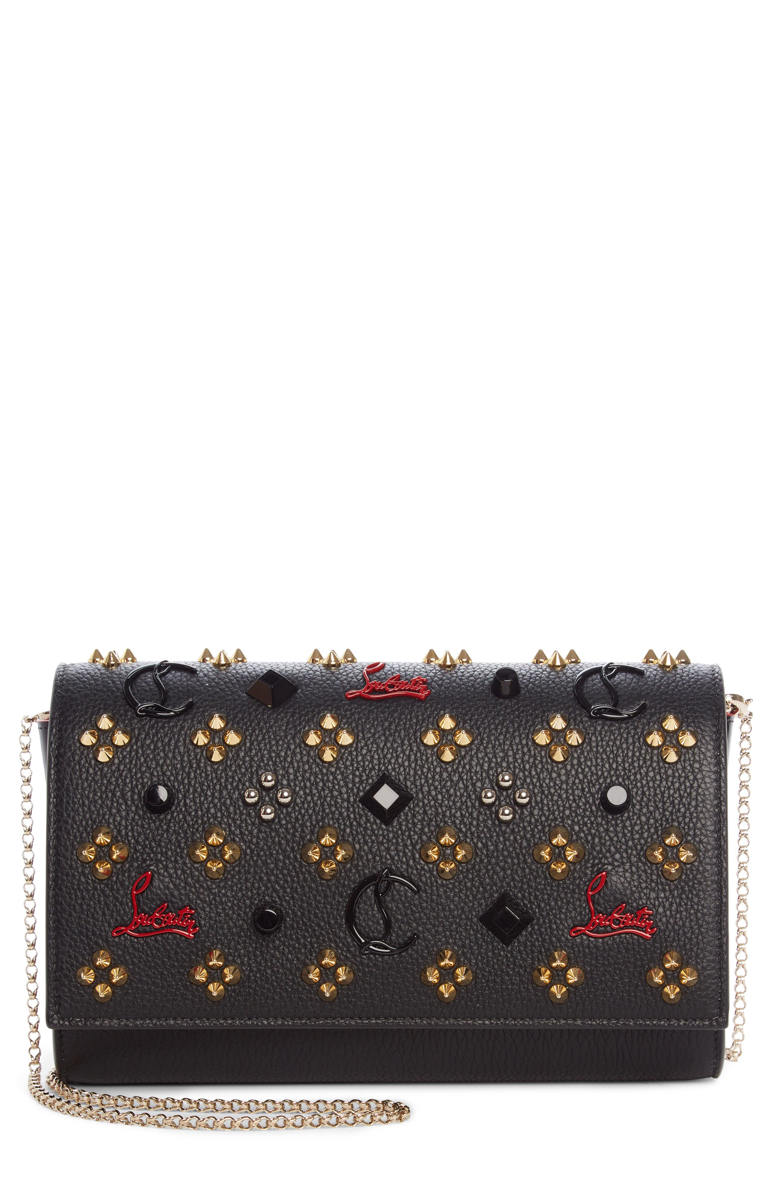Paloma Empire Calfskin Clutch,                         Main,                         color, Black/ Red-Gold