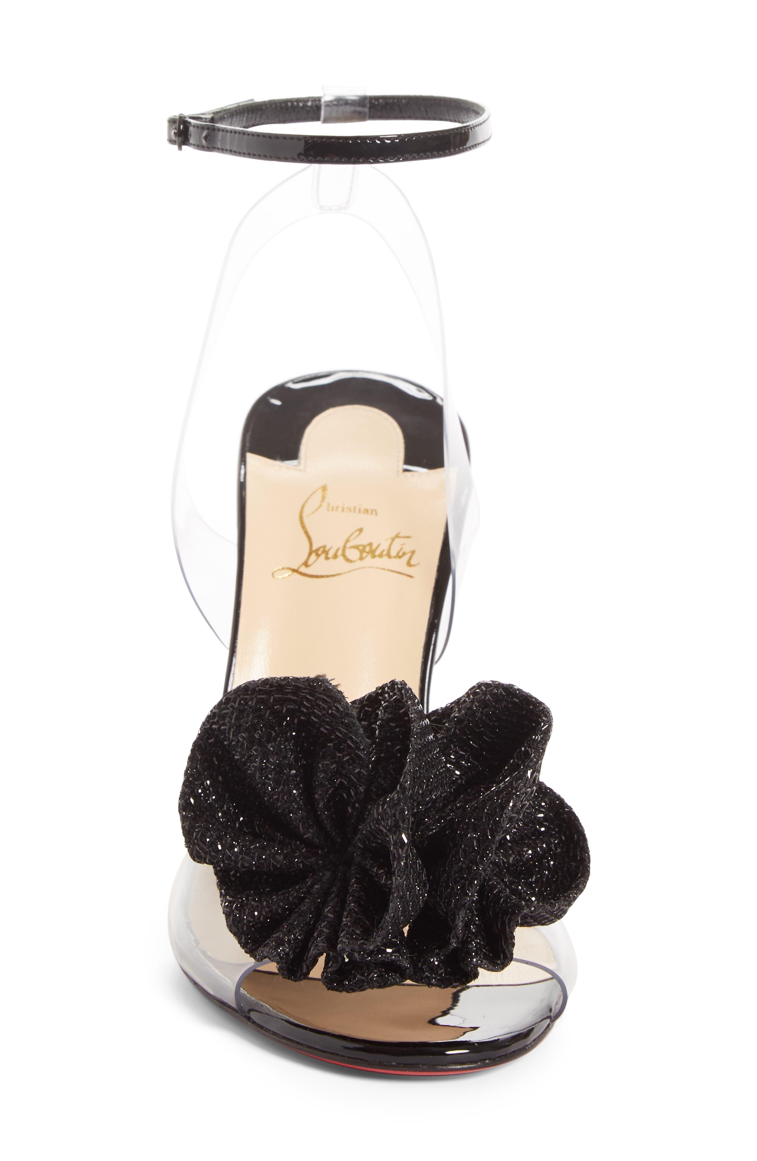 Fossiliza Clear Ankle Strap Sandal,                             Alternate thumbnail 4, color,                             Black/ Transparent