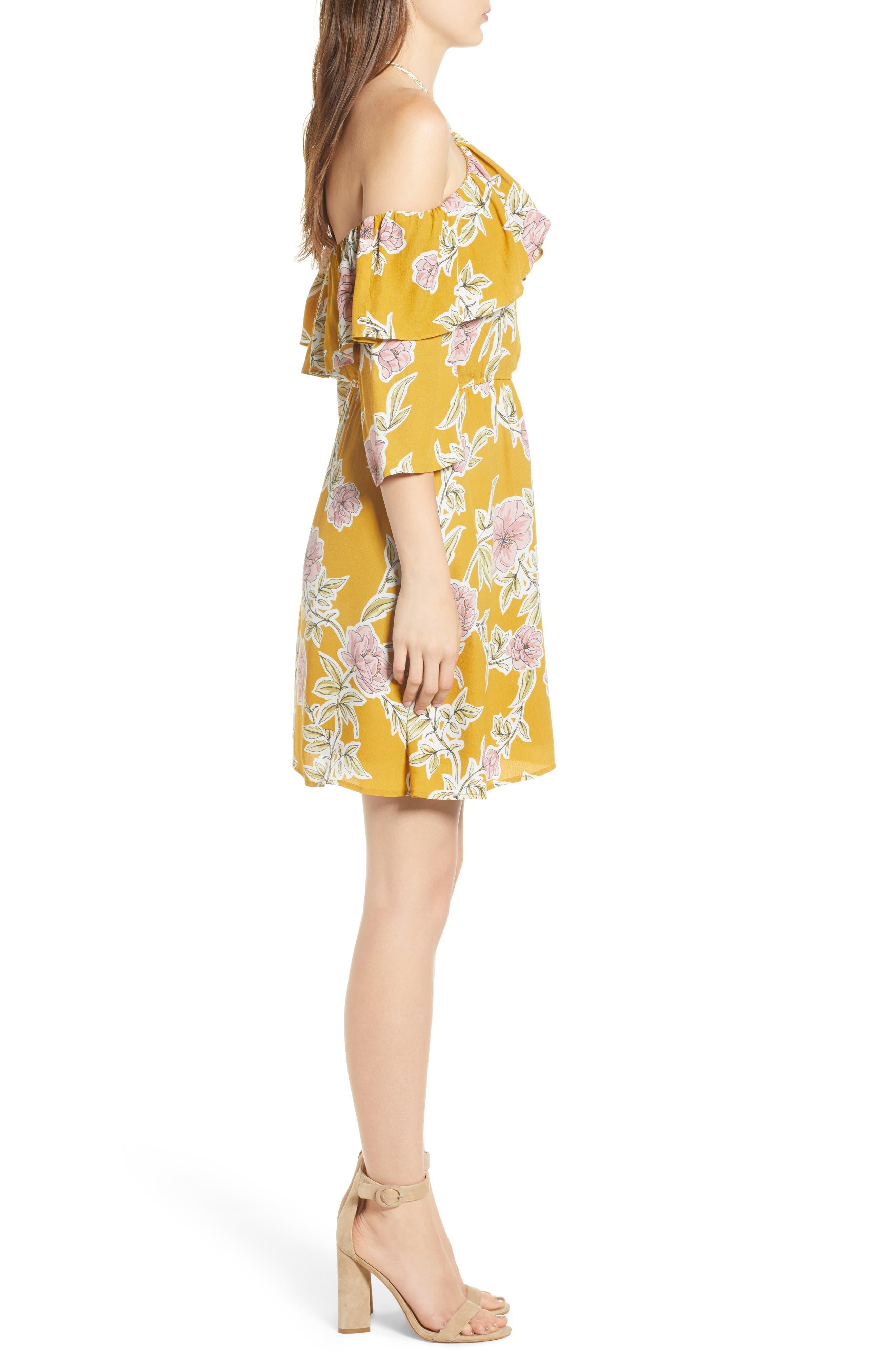 Fonda Cold Shoulder Halter Dress,                             Alternate thumbnail 3, color,                             Yellow Gold
