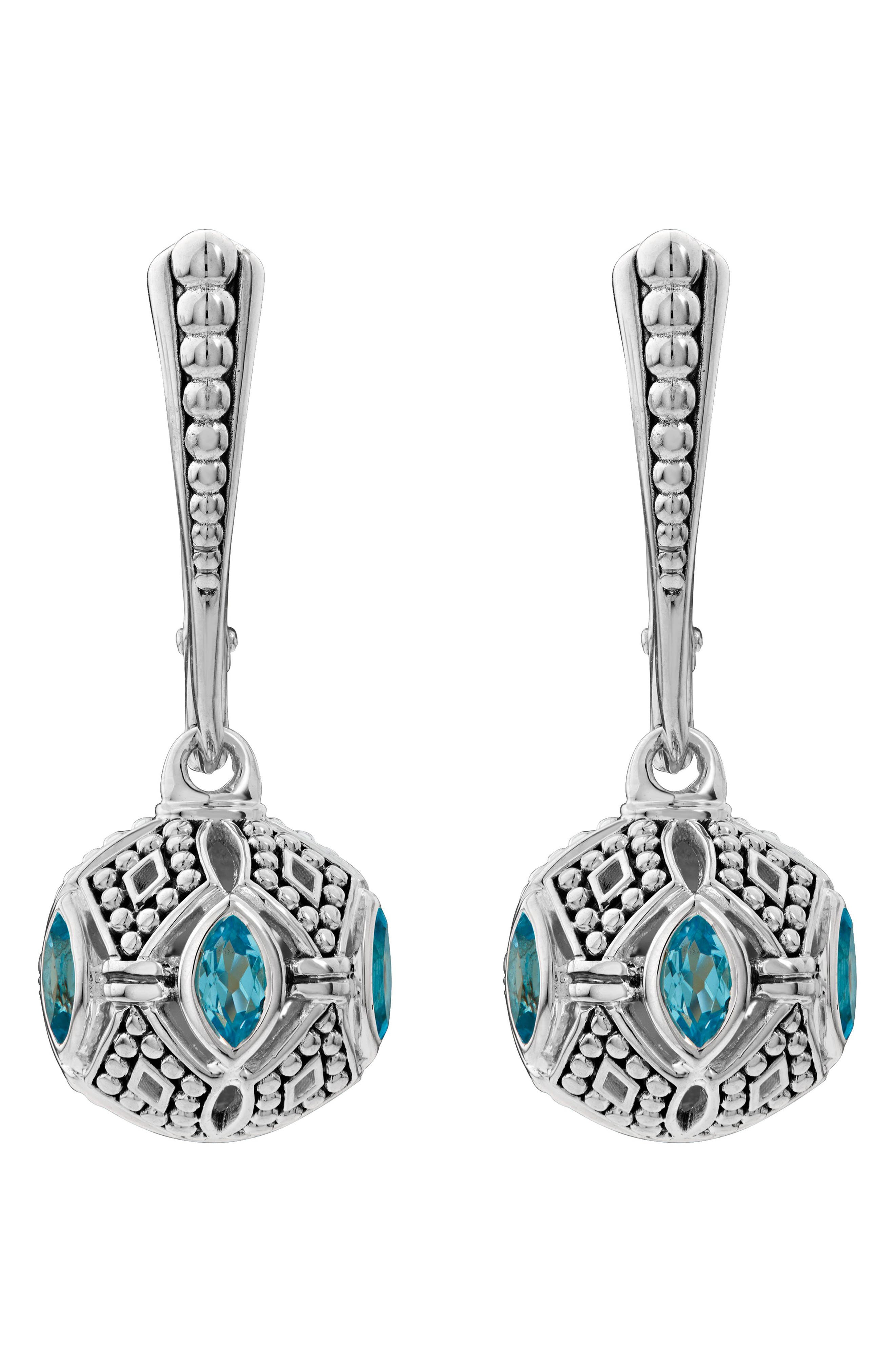 Caviar Talisman Marquee Leverback Earrings,                             Alternate thumbnail 2, color,                             Silver/ 18K Gold/ Blue Topaz