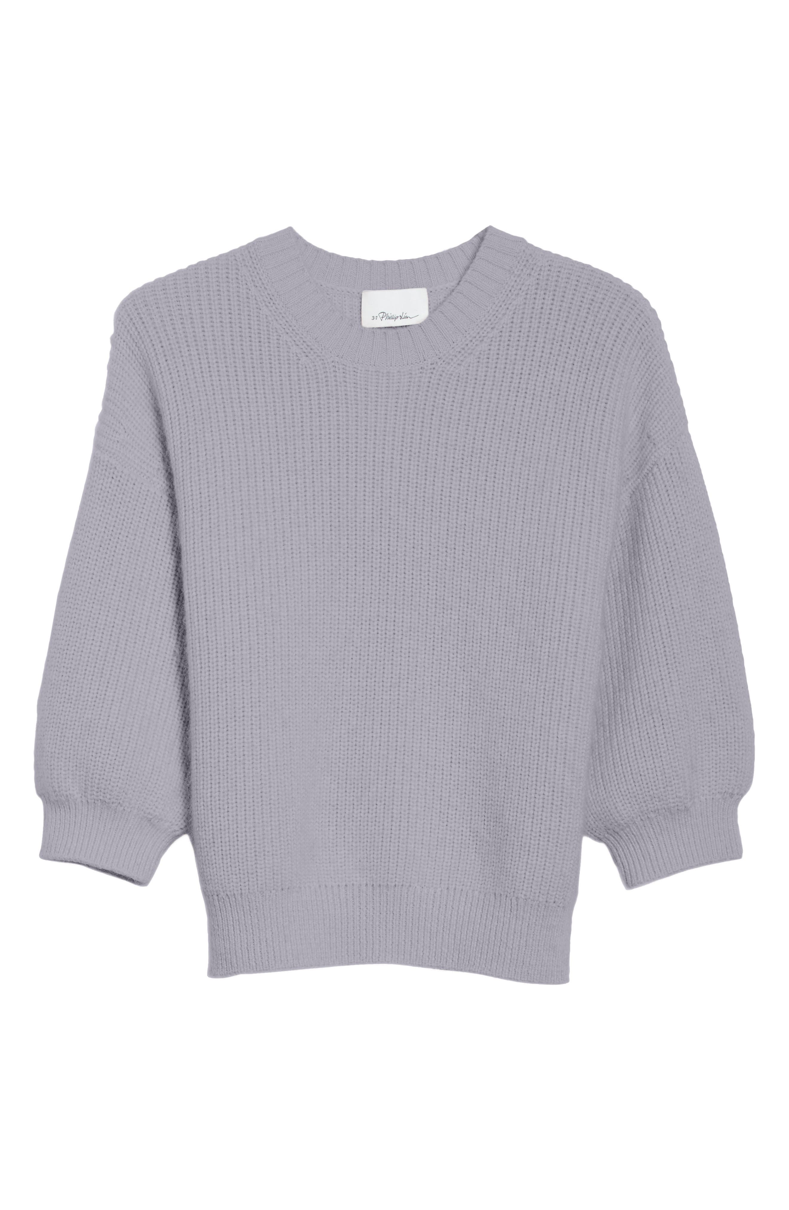 Puff Sleeve Wool & Mohair Blend Sweater,                             Alternate thumbnail 6, color,                             Charcoal
