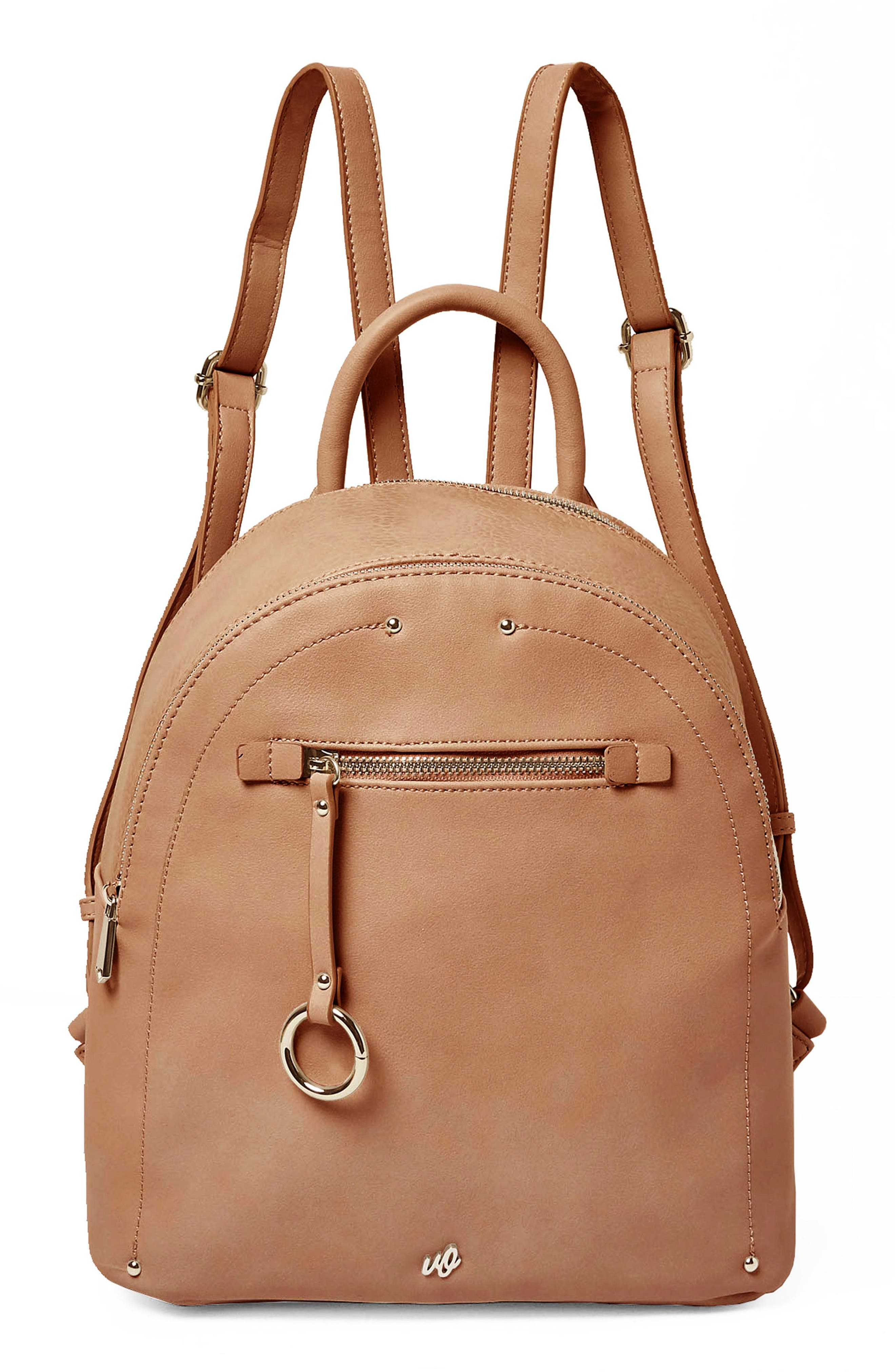 Into the Night Vegan Leather Backpack,                         Main,                         color, Latte