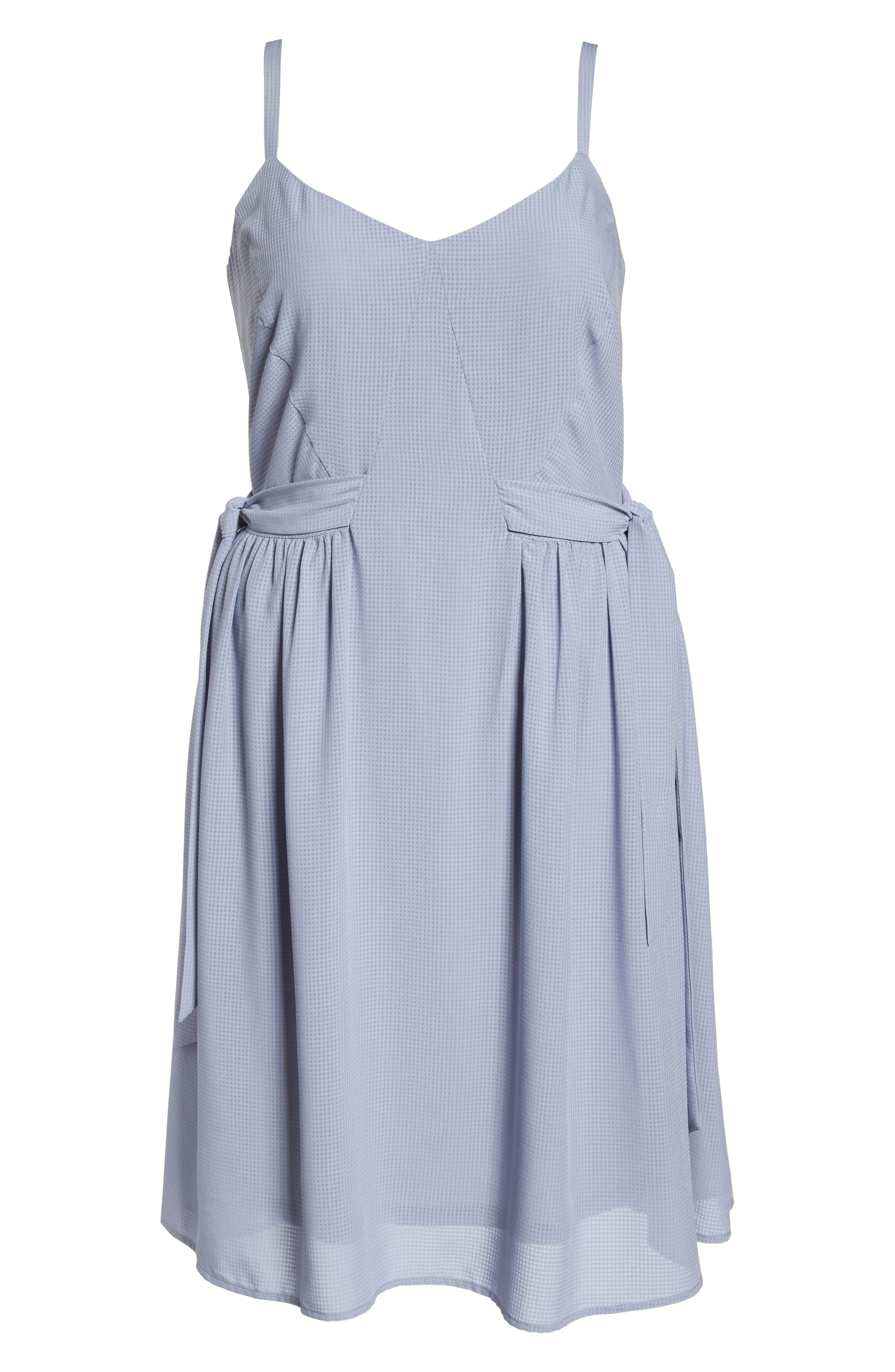 Side Tie Gathered Dress,                             Alternate thumbnail 7, color,                             Grey