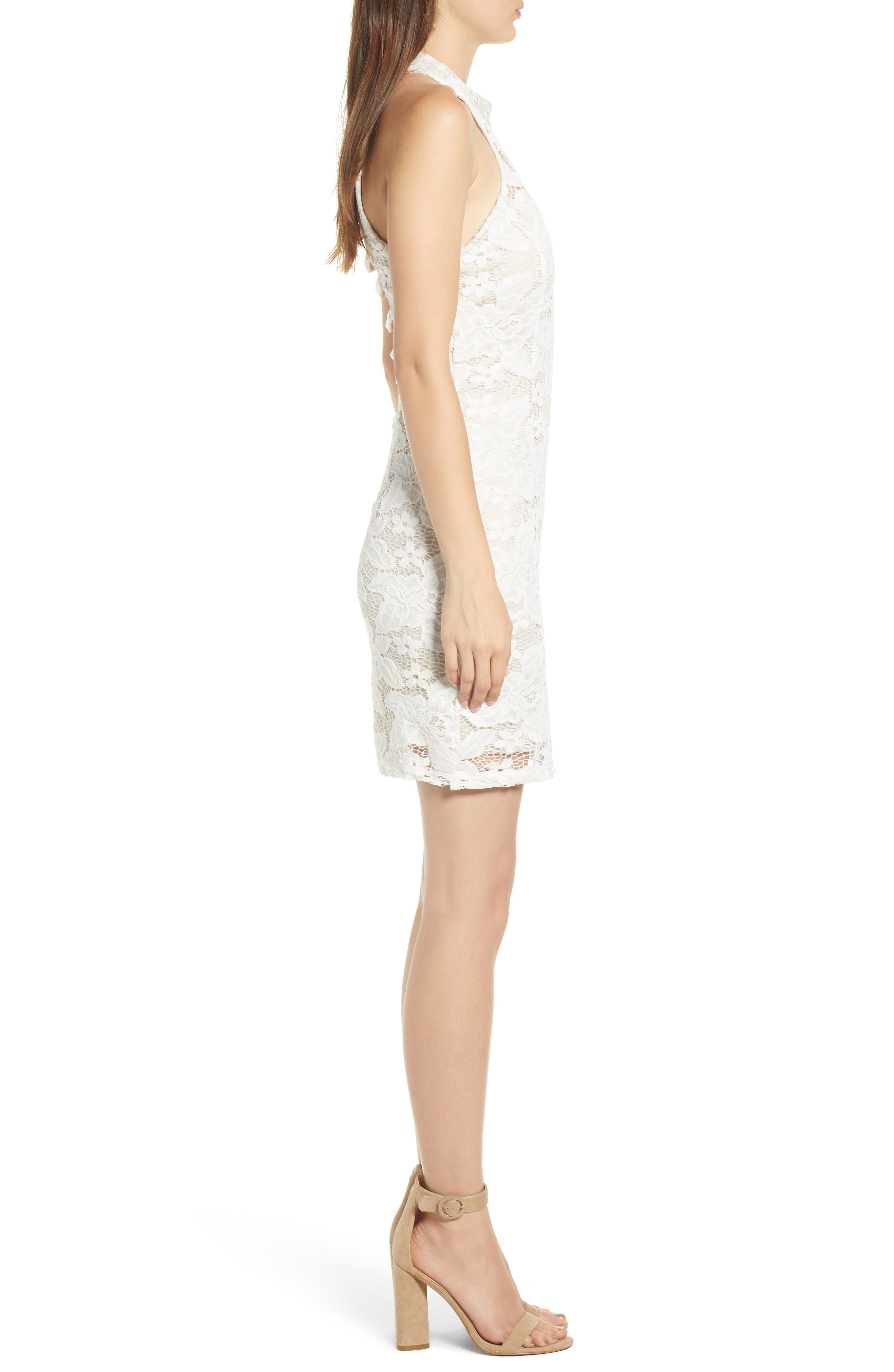 Lace Body-Con Minidress,                             Alternate thumbnail 3, color,                             Ivory/ Nude