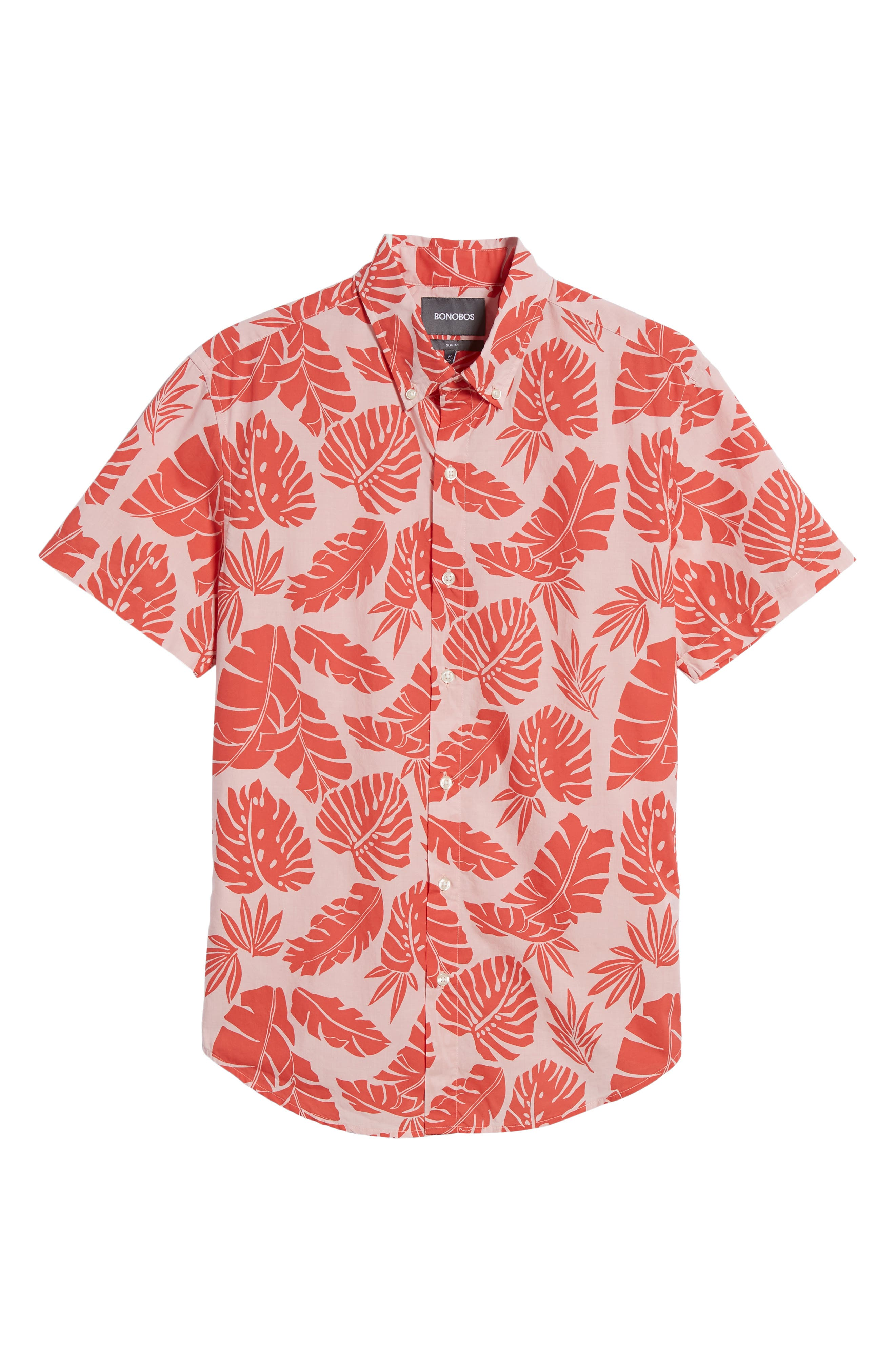 Riviera Slim Fit Palm Print Sport Shirt,                             Alternate thumbnail 6, color,                             Palm Scatter - Coral Fan