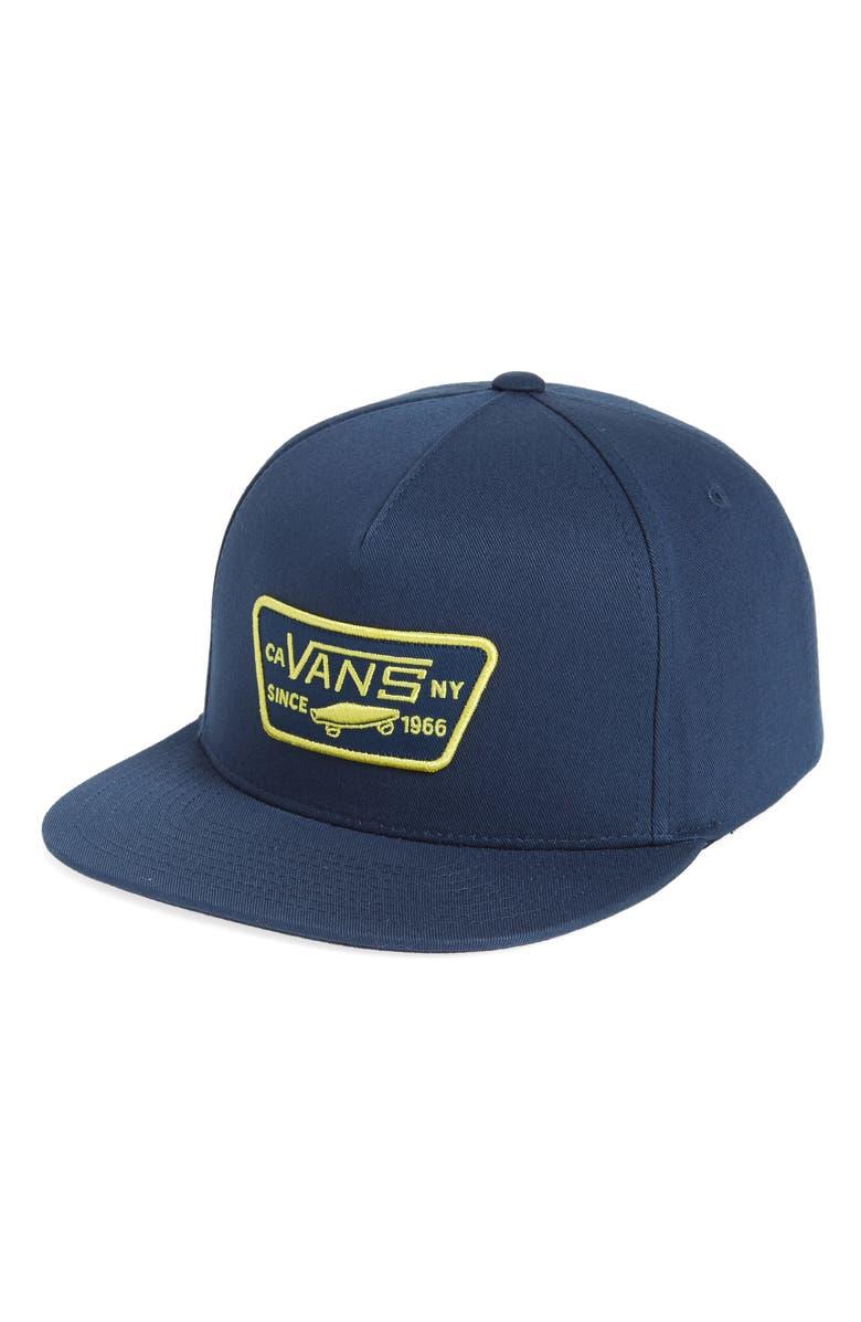 367d877315 Vans  Full Patch  Snapback Hat - Blue In Dress Blues  Green Sheen ...