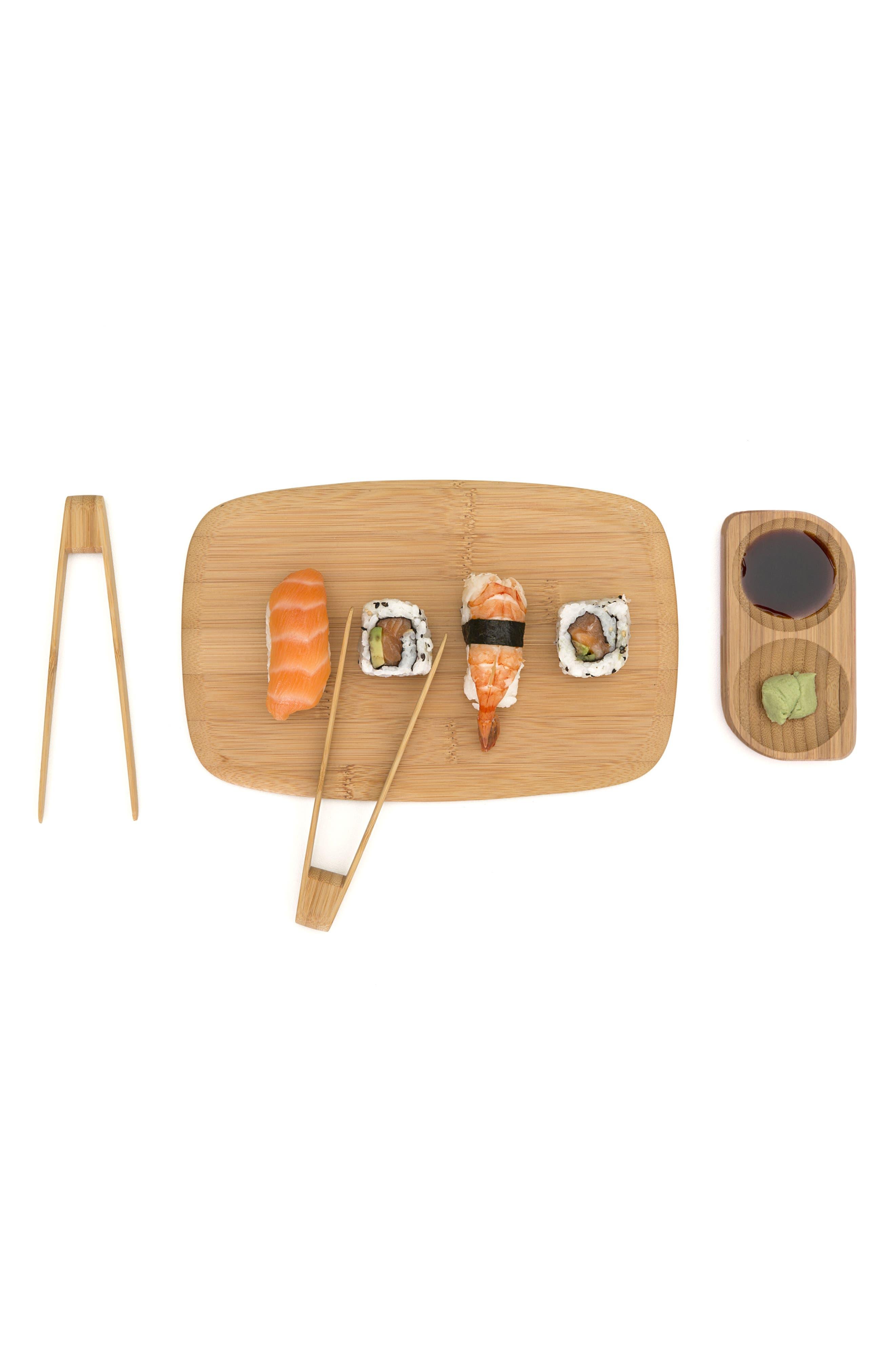 3-Piece Bamboo Sushi Tray & Songs Set,                             Alternate thumbnail 3, color,                             Natural
