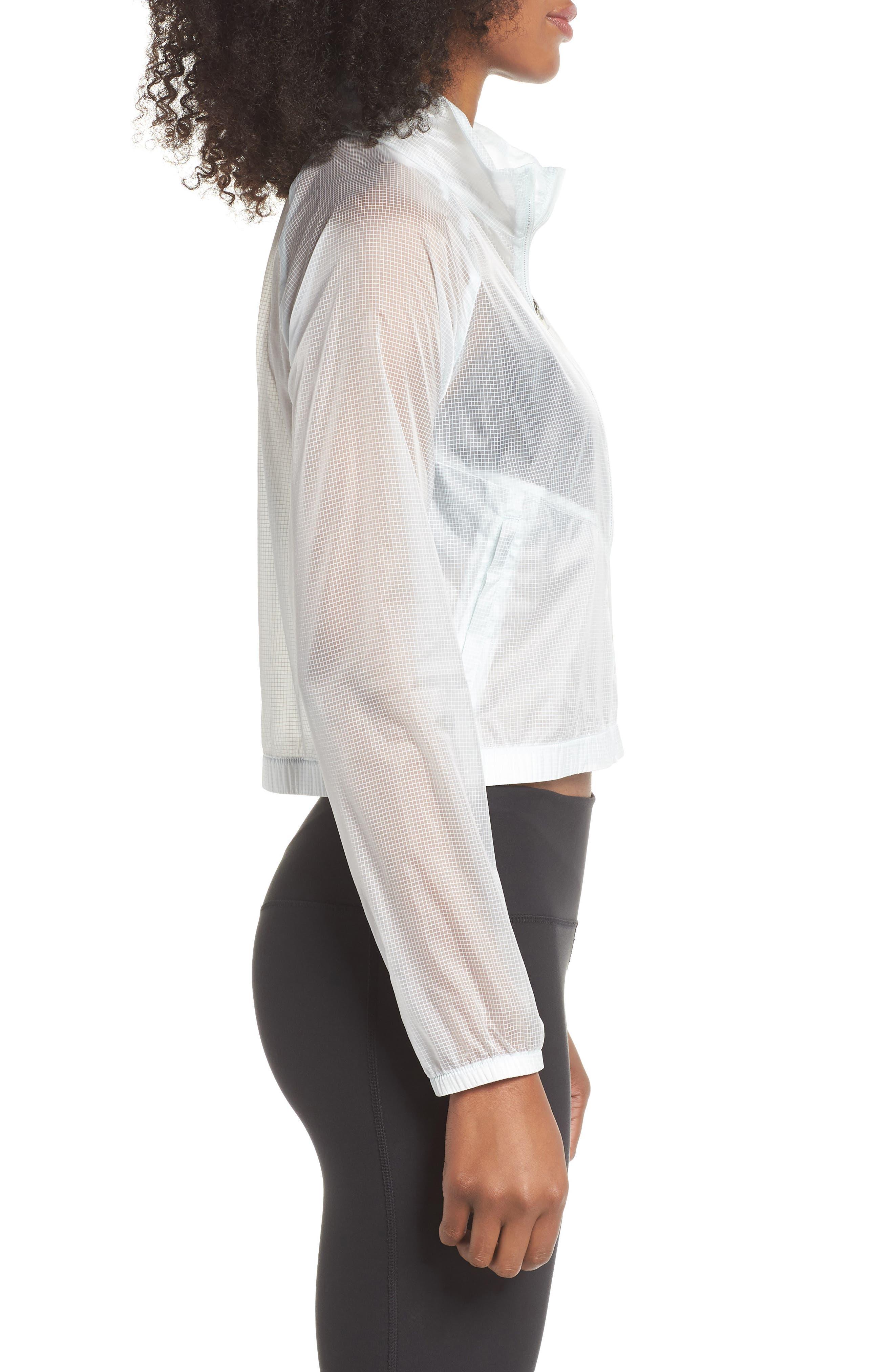 Transparent Running Jacket,                             Alternate thumbnail 3, color,                             Barely Grey
