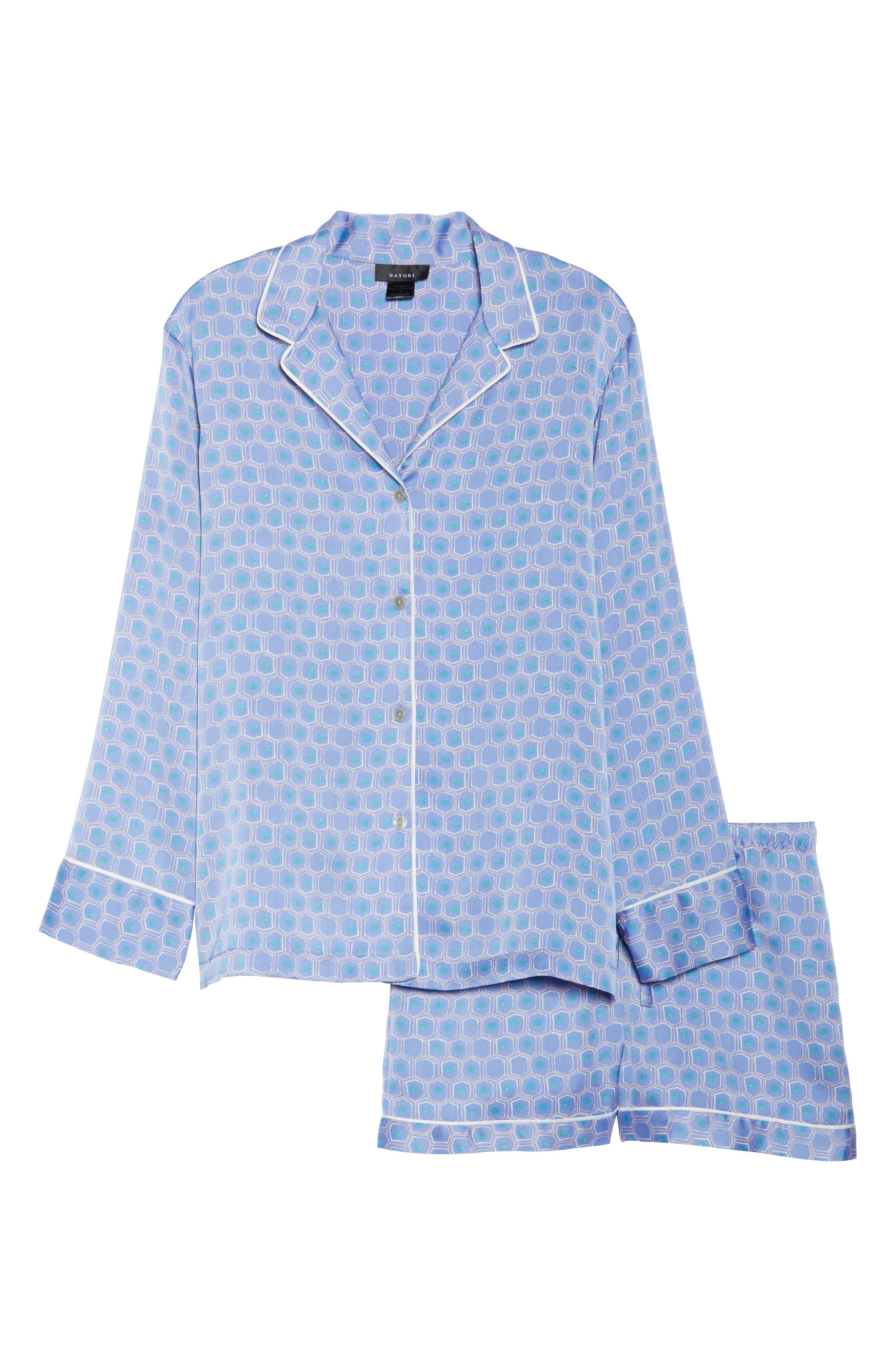 Honeycomb Short Pajamas,                             Alternate thumbnail 6, color,                             Wedgewood