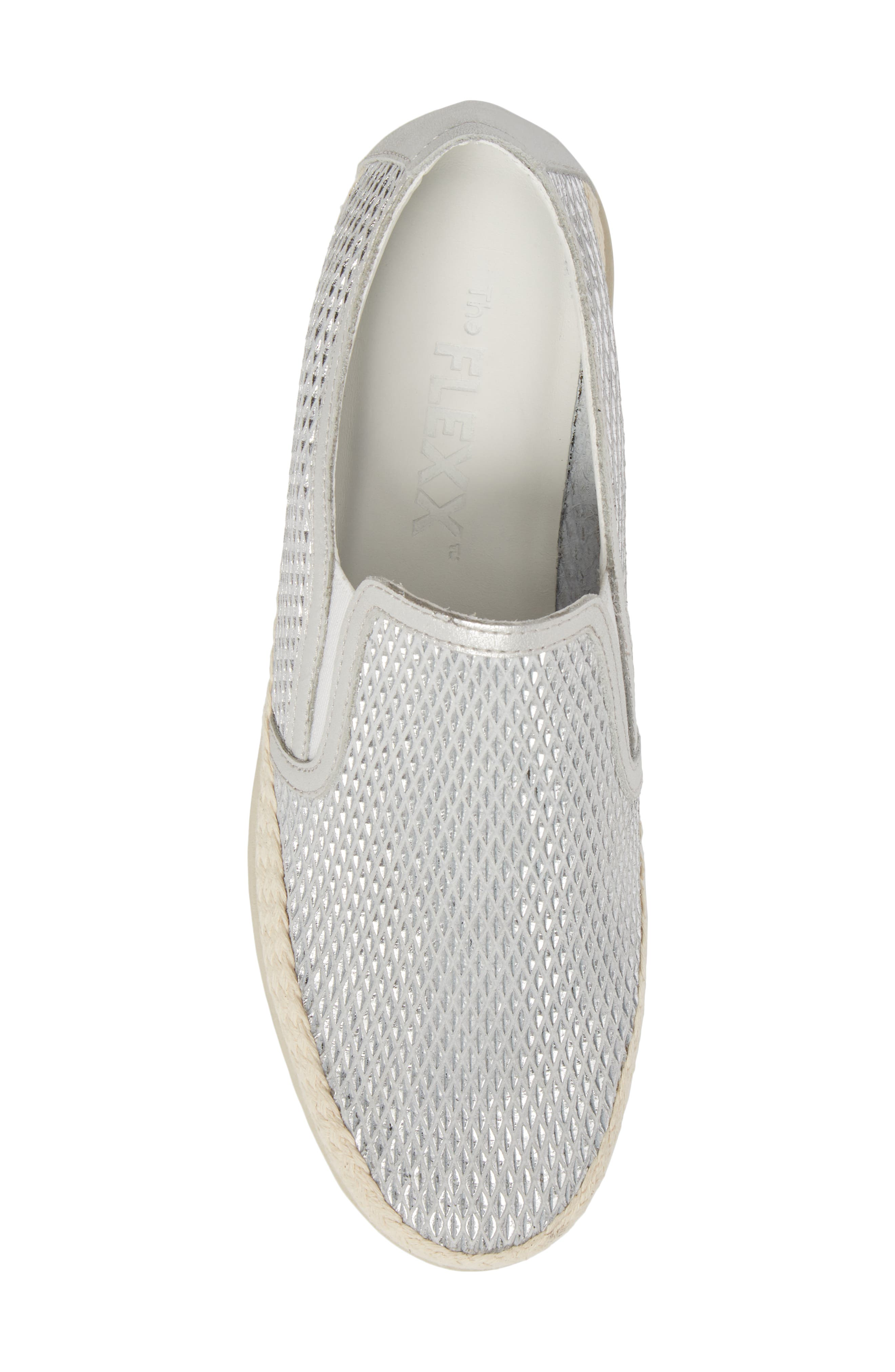 Call Me Perforated Slip-On Sneaker,                             Alternate thumbnail 5, color,                             White/ Silver Leather
