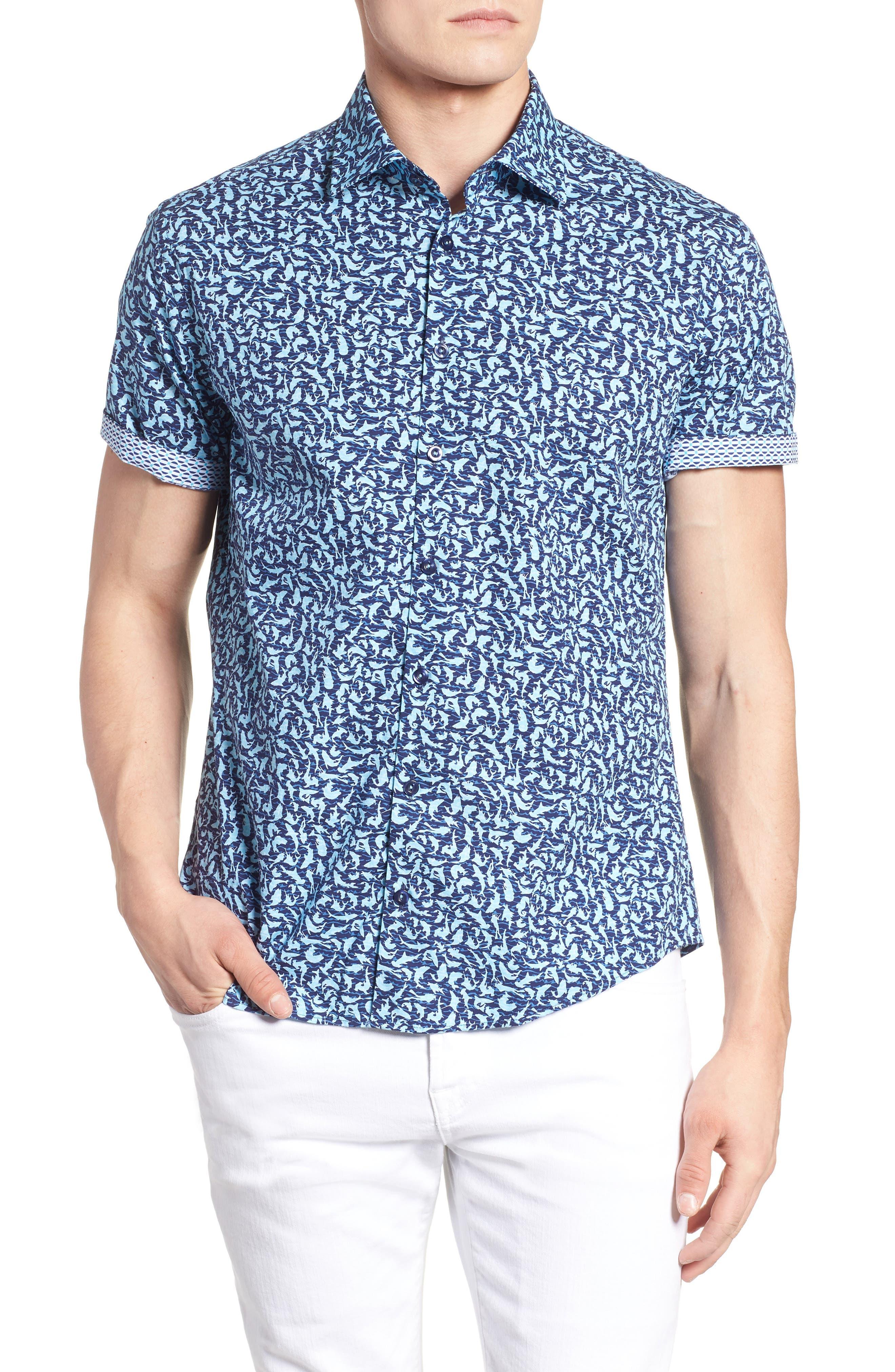 Slim Fit Shark Print Sport Shirt,                             Alternate thumbnail 2, color,                             Turquoise
