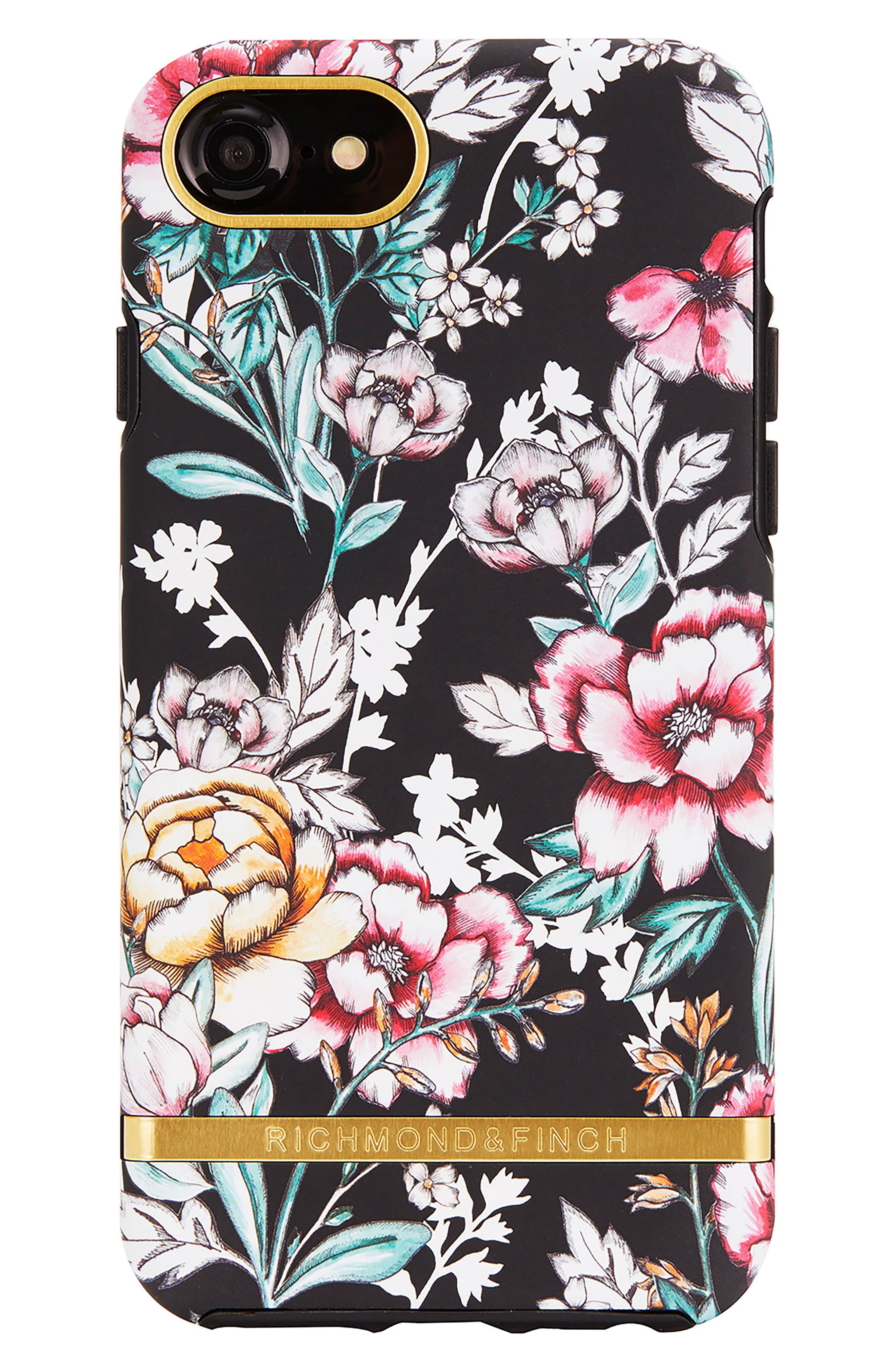 Richmond & Finch Floral Print iPhone 6/6s/7/8 & 6/6s/7/8 Plus Case,                             Main thumbnail 1, color,                             Black Floral