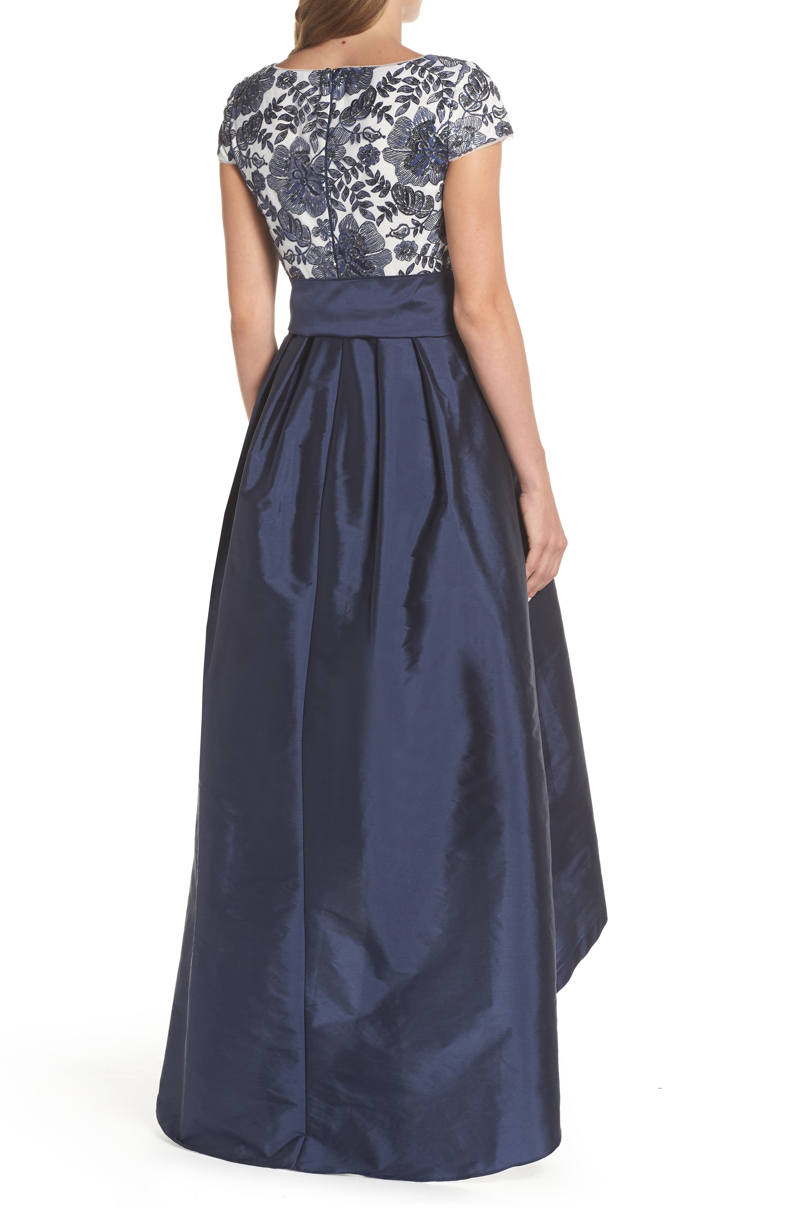 Sequin Bodice High/Low Ballgown,                             Alternate thumbnail 2, color,                             Midnight/ Ivory