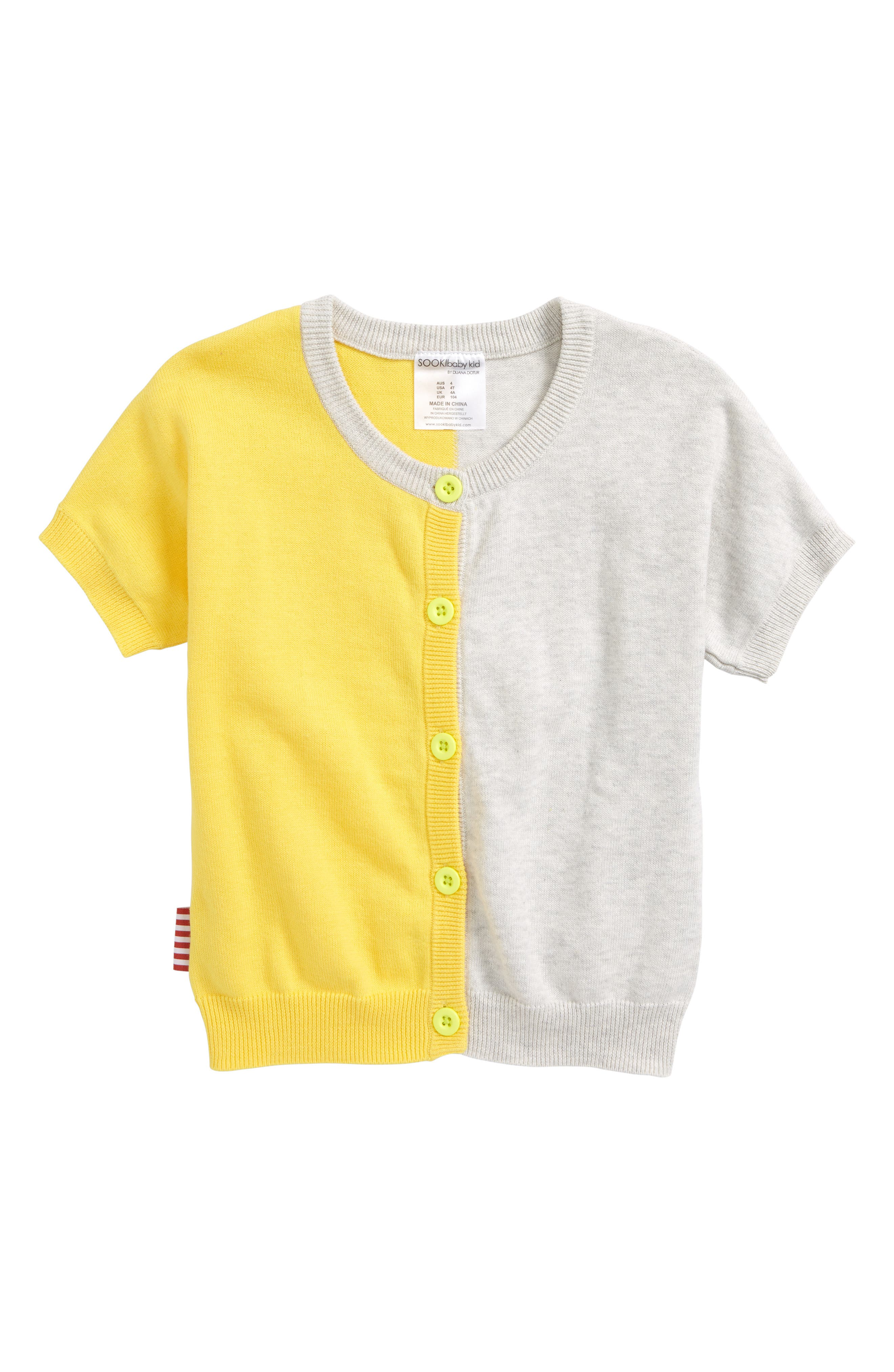 True Knit Lemon Cardigan,                         Main,                         color, Yellow Multi