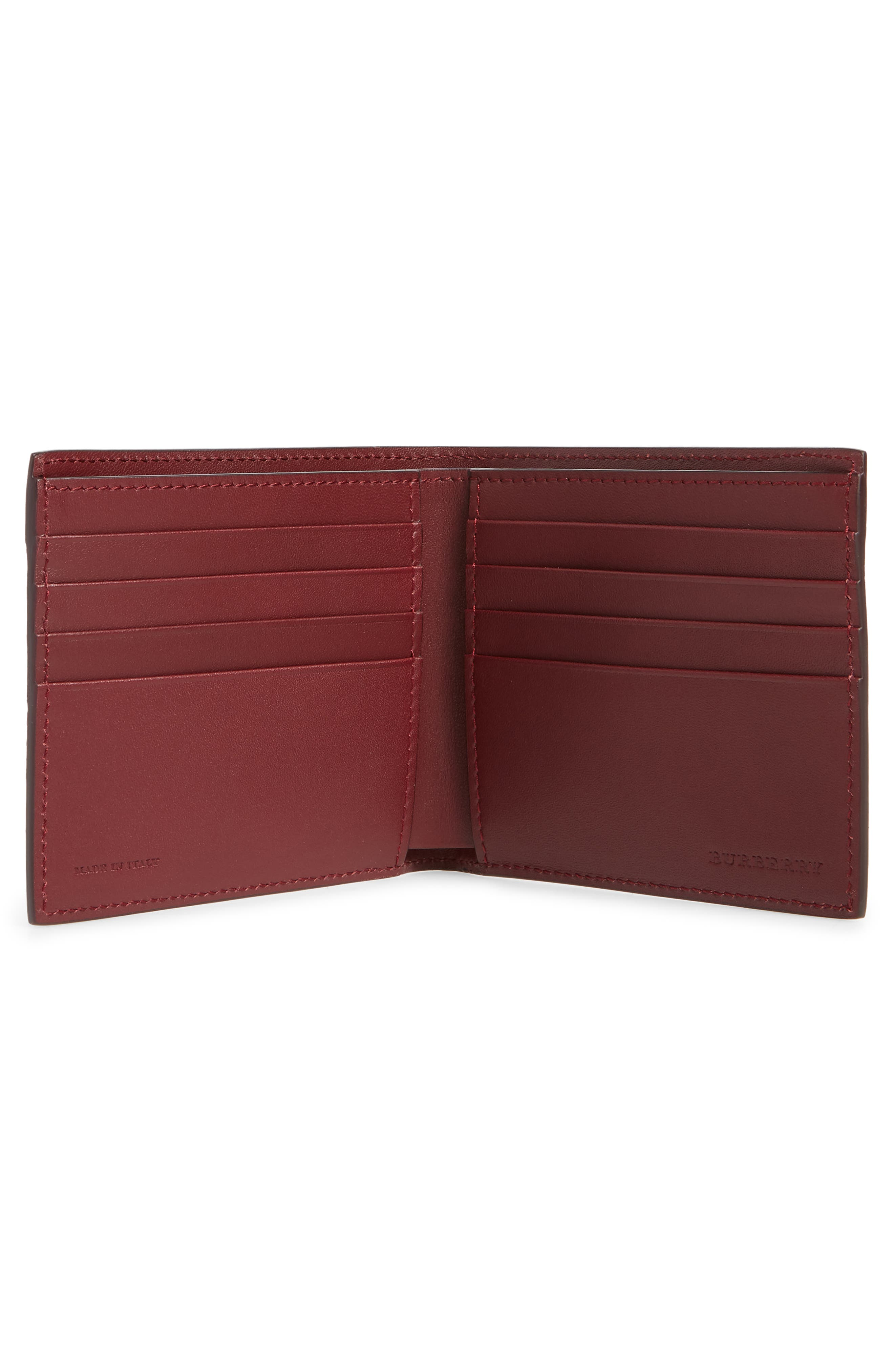 Leather Bifold Wallet,                             Alternate thumbnail 2, color,                             Burgundy Red