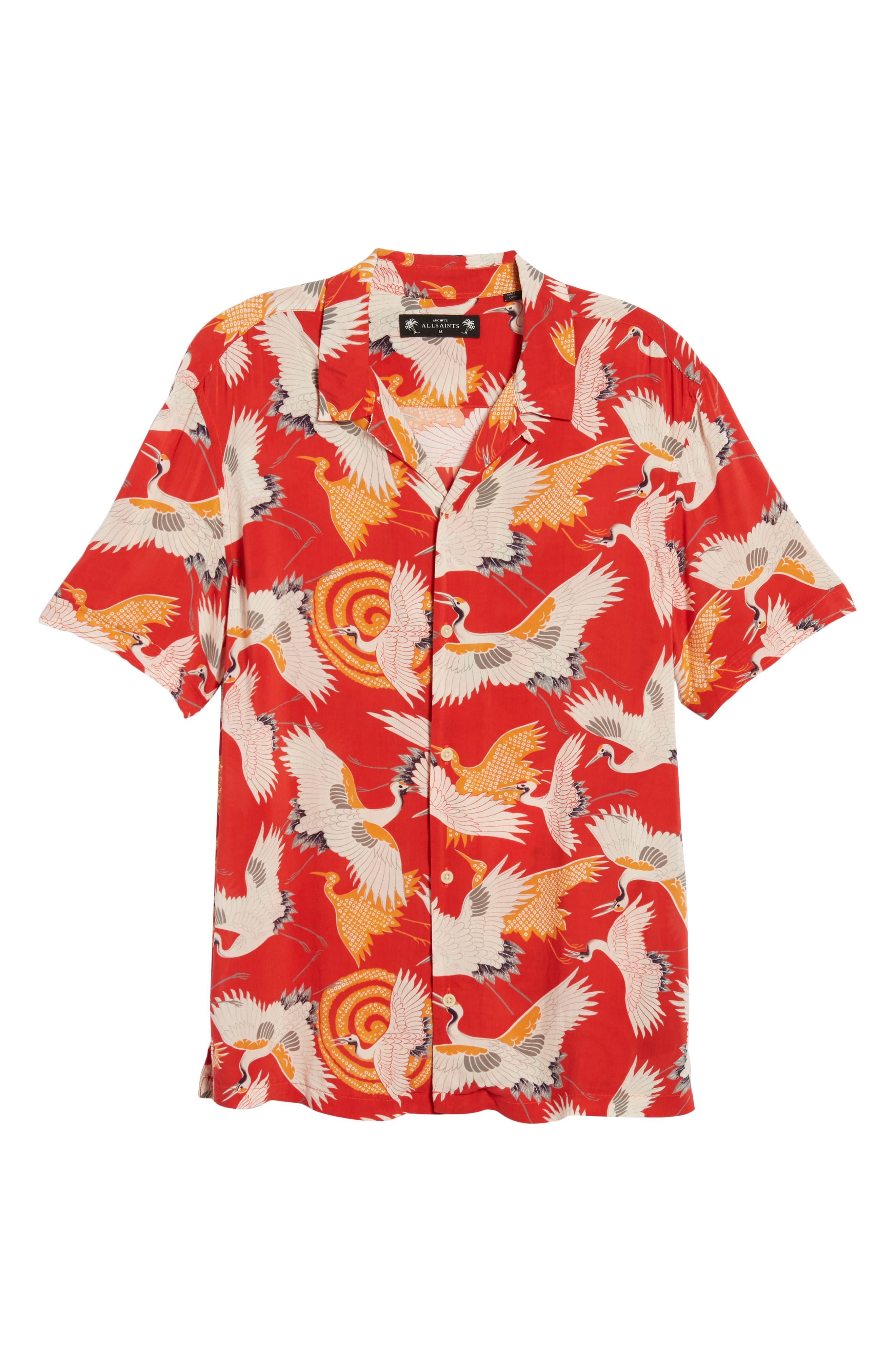 Tsuru Regular Fit Short Sleeve Sport Shirt,                             Alternate thumbnail 6, color,                             Red