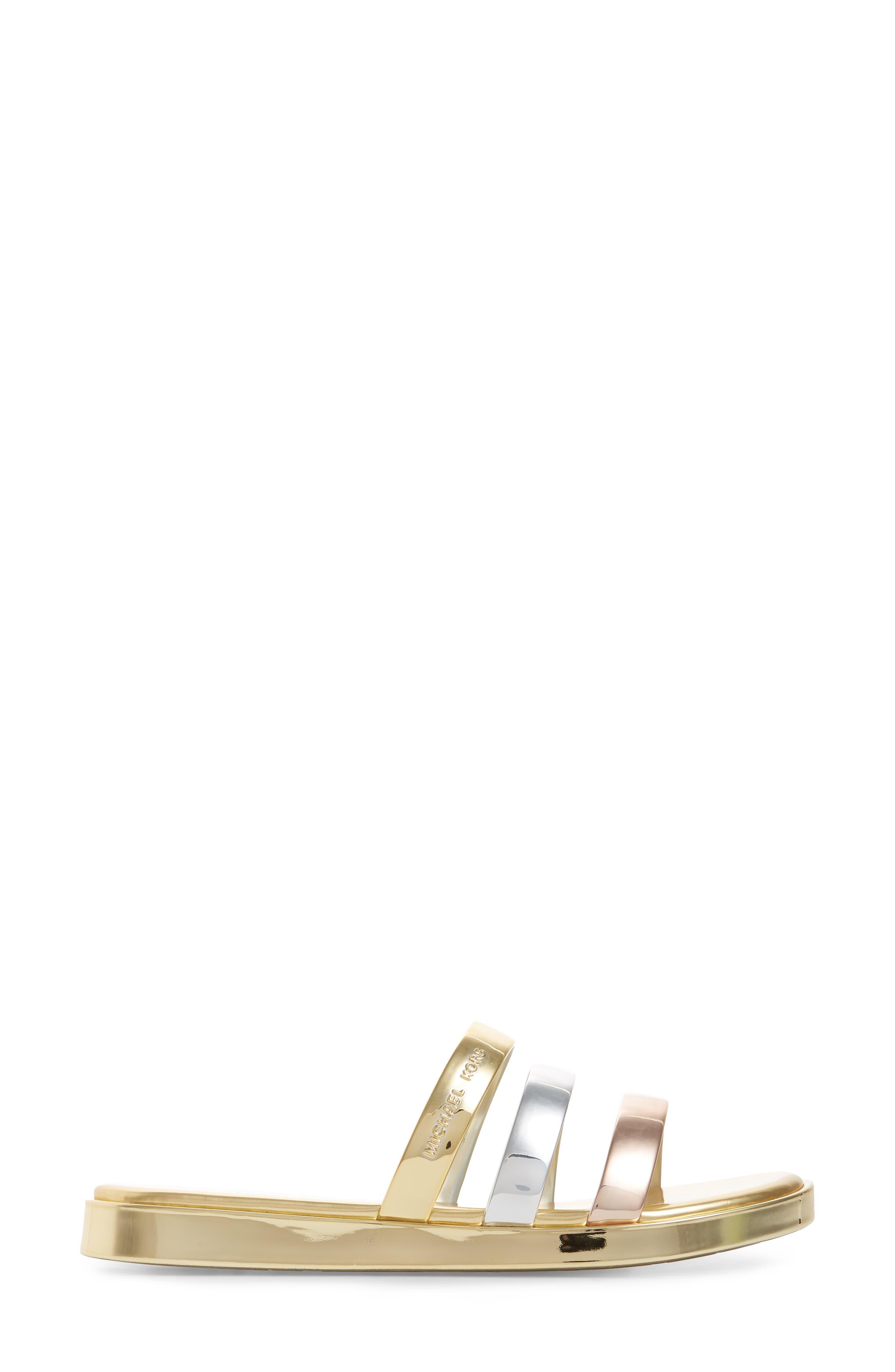 Keiko Triple-Band Slide Sandal,                             Alternate thumbnail 3, color,                             Gold/ Silver