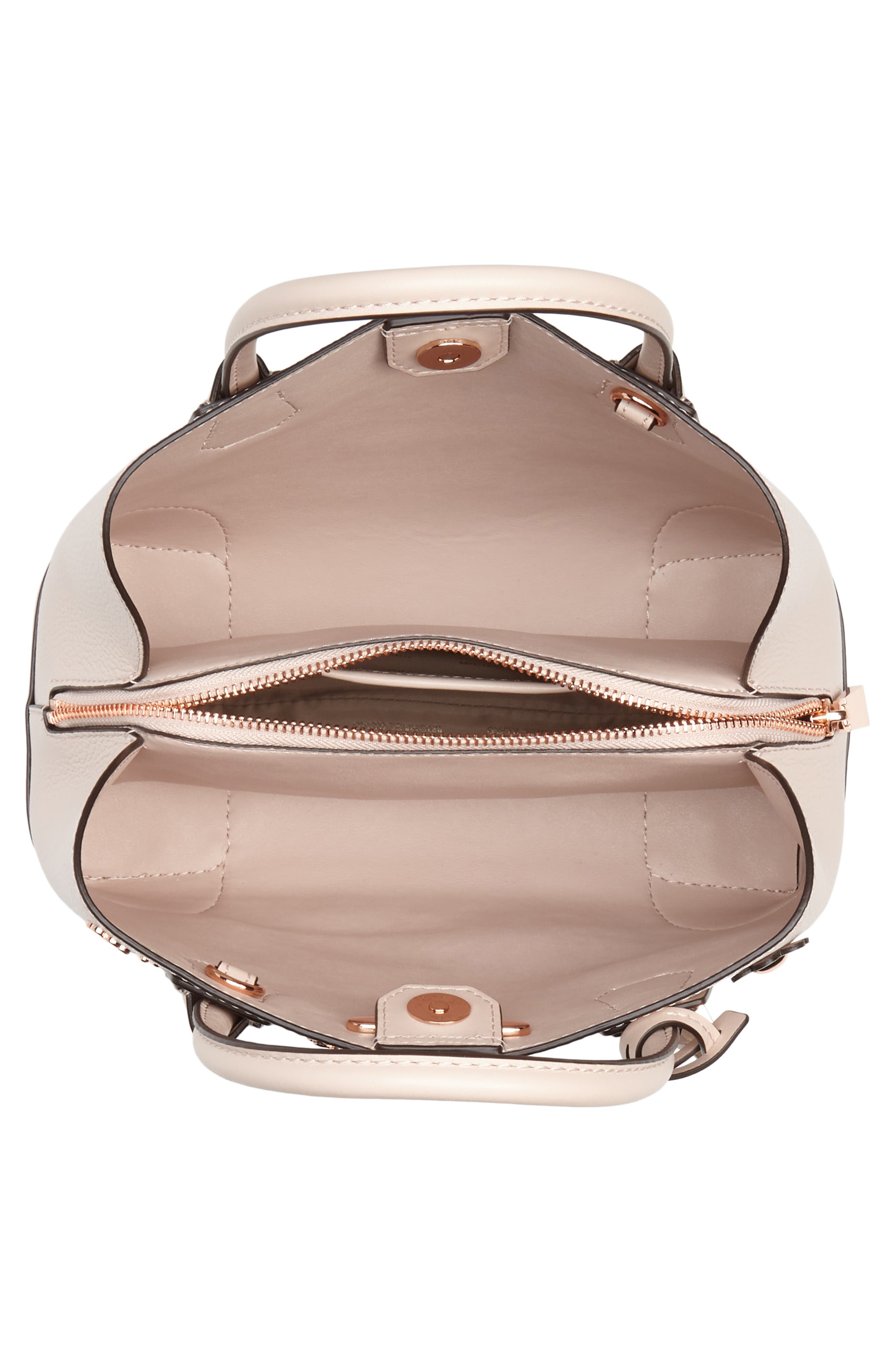 Small Mercer Gallery Leather Satchel,                             Alternate thumbnail 4, color,                             Soft Pink Multi