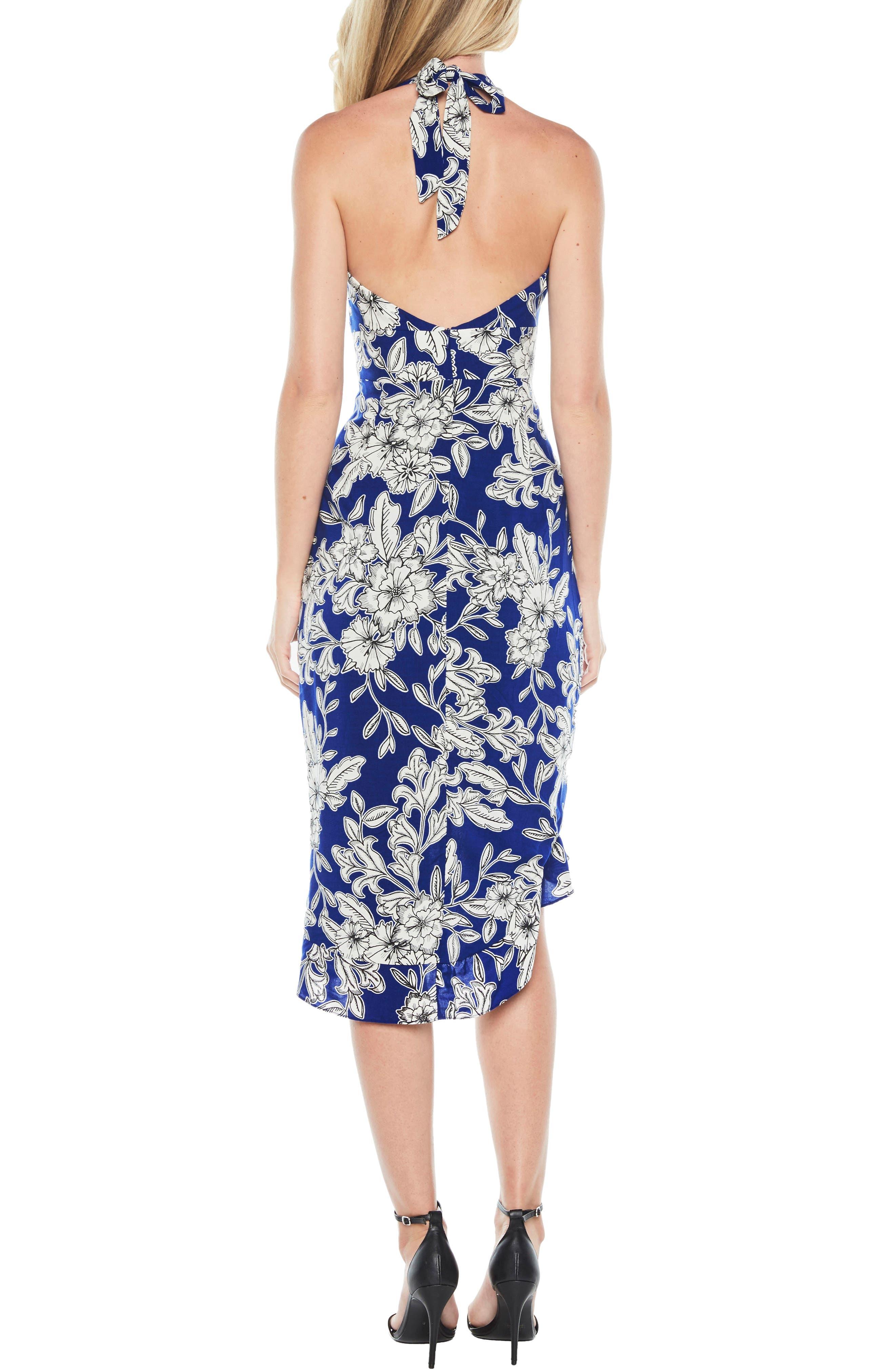Petra Floral Dress,                             Alternate thumbnail 2, color,                             Cobalt Floral