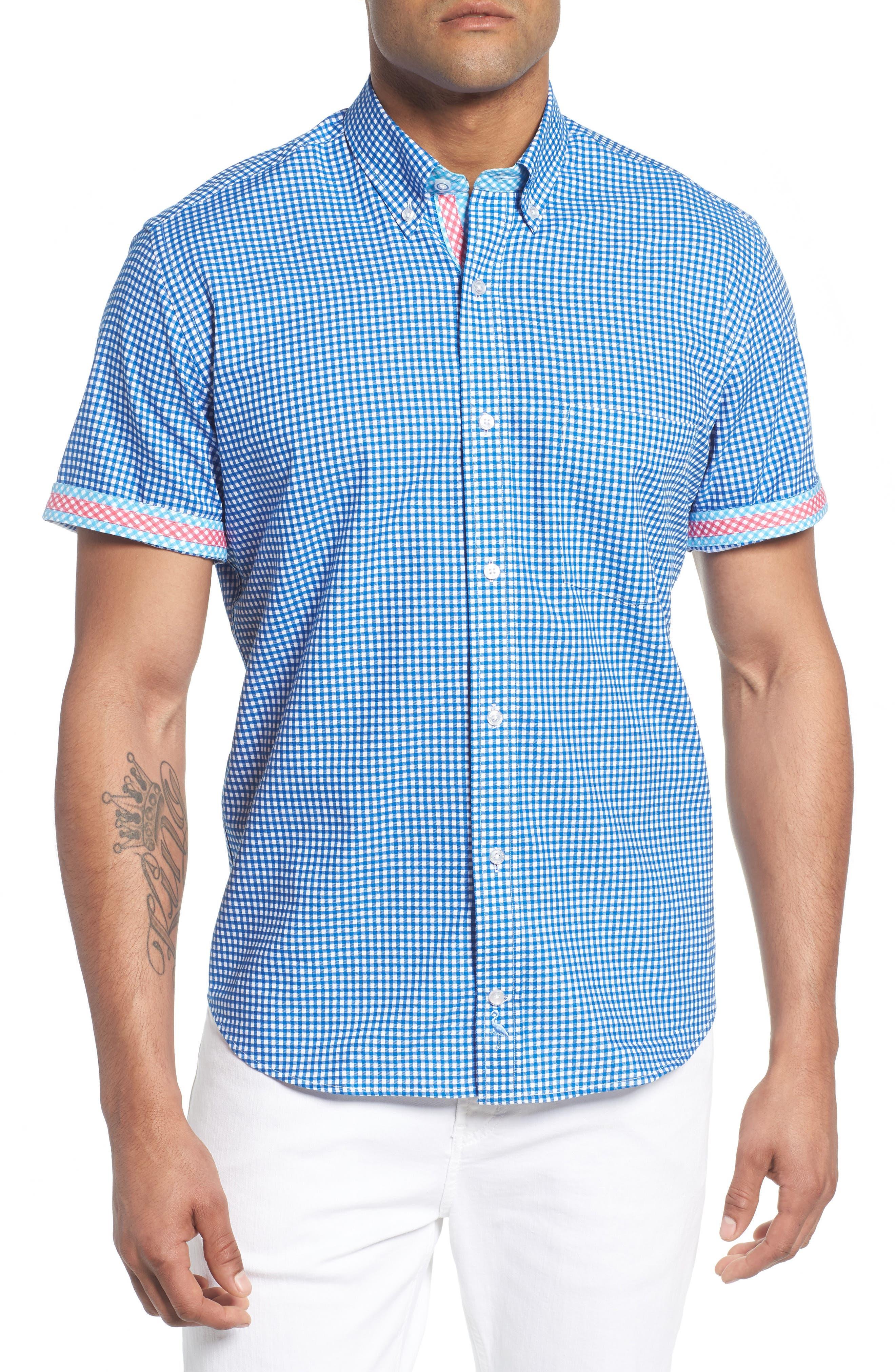 Abel Regular Fit Mini Check Sport Shirt,                             Alternate thumbnail 2, color,                             Royal