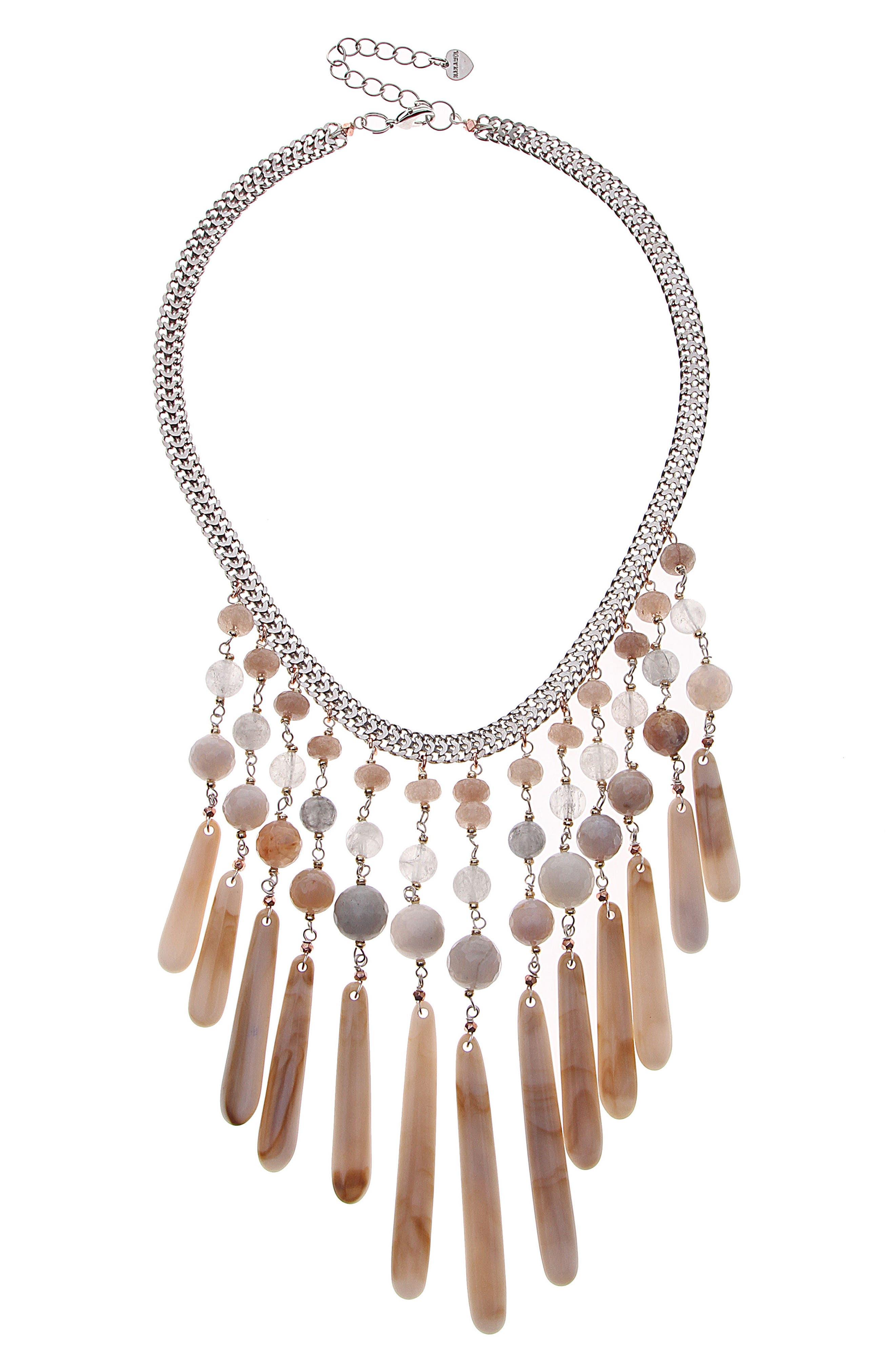 Semiprecious Stone Bib Necklace,                         Main,                         color, Creme