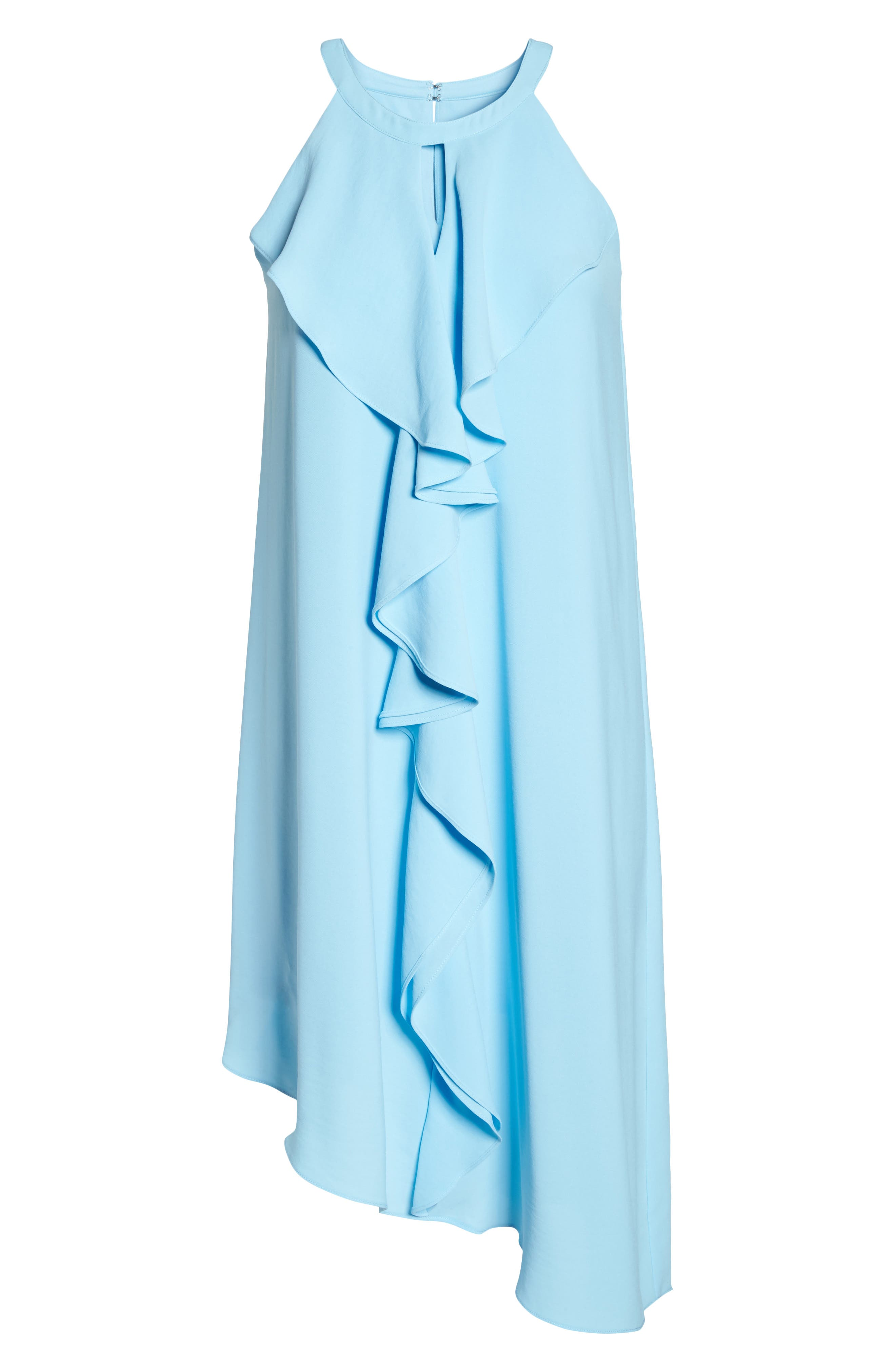 Double Ruffle Gauzy Crepe Shift Dress,                             Alternate thumbnail 6, color,                             Azure Mist