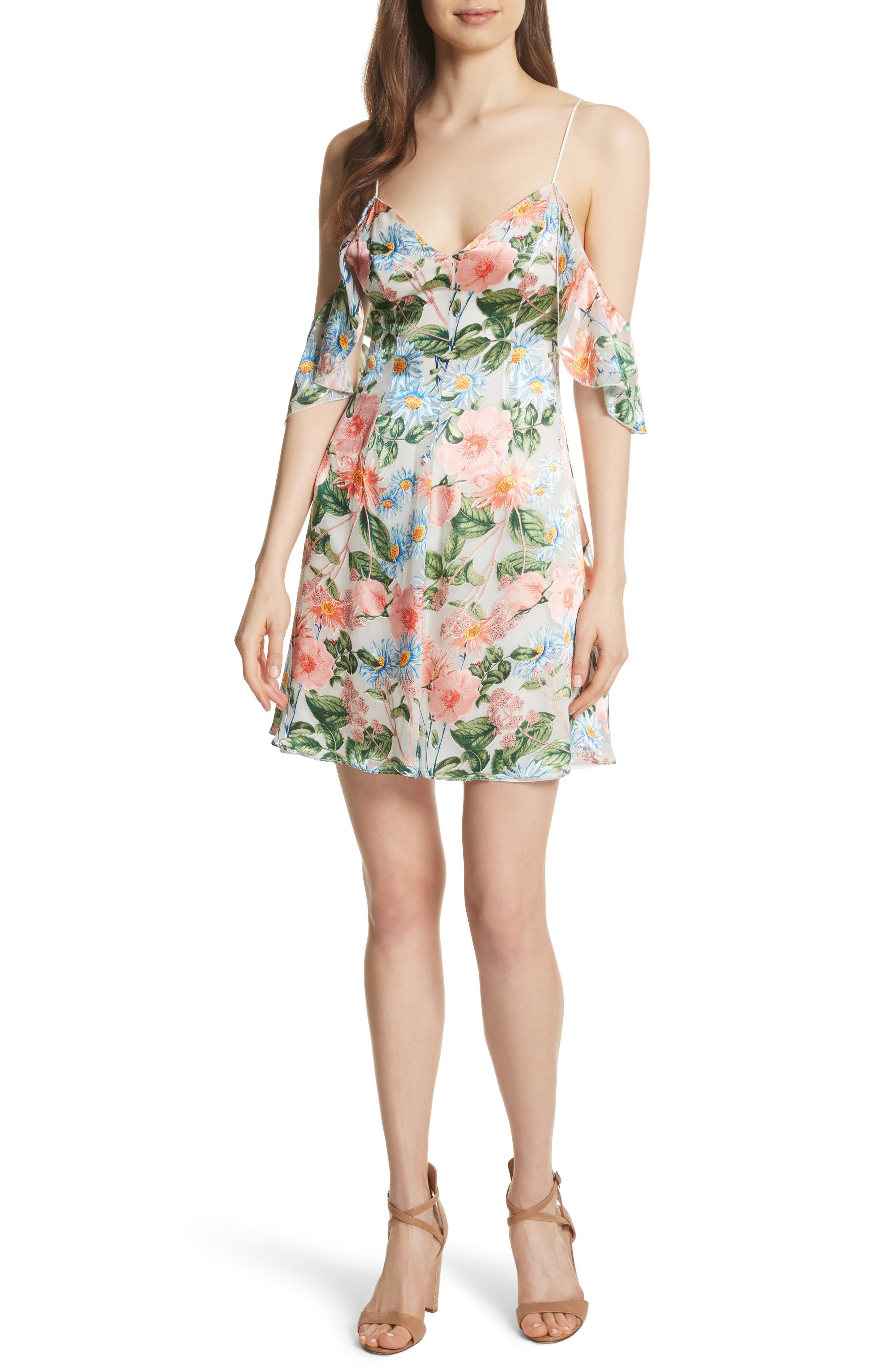 Main Image - Alice + Olivia Alves Floral Cold Shoulder Dress
