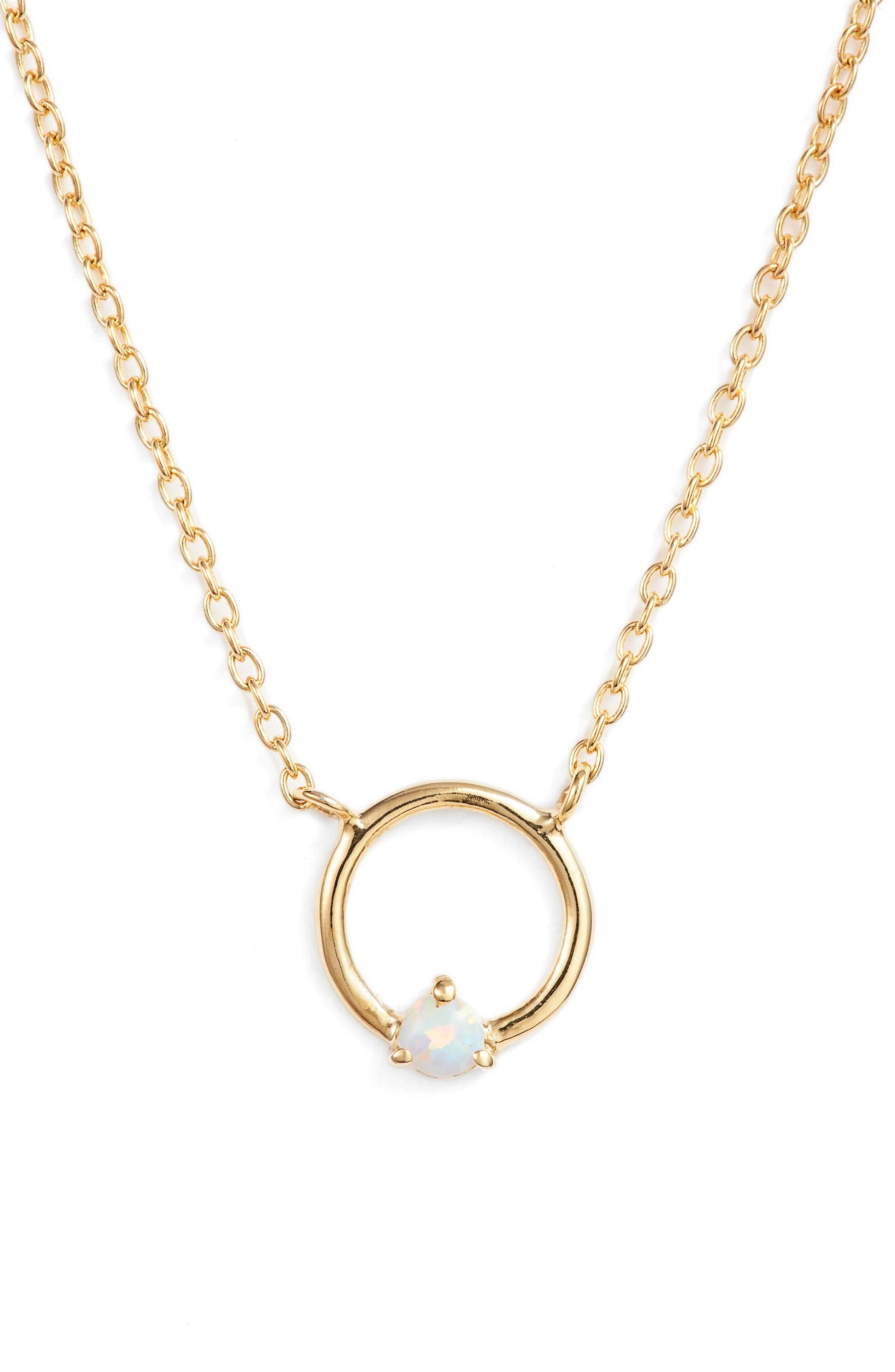 Sydney Opal Open Ring Pendant Necklace,                             Main thumbnail 1, color,                             Gold