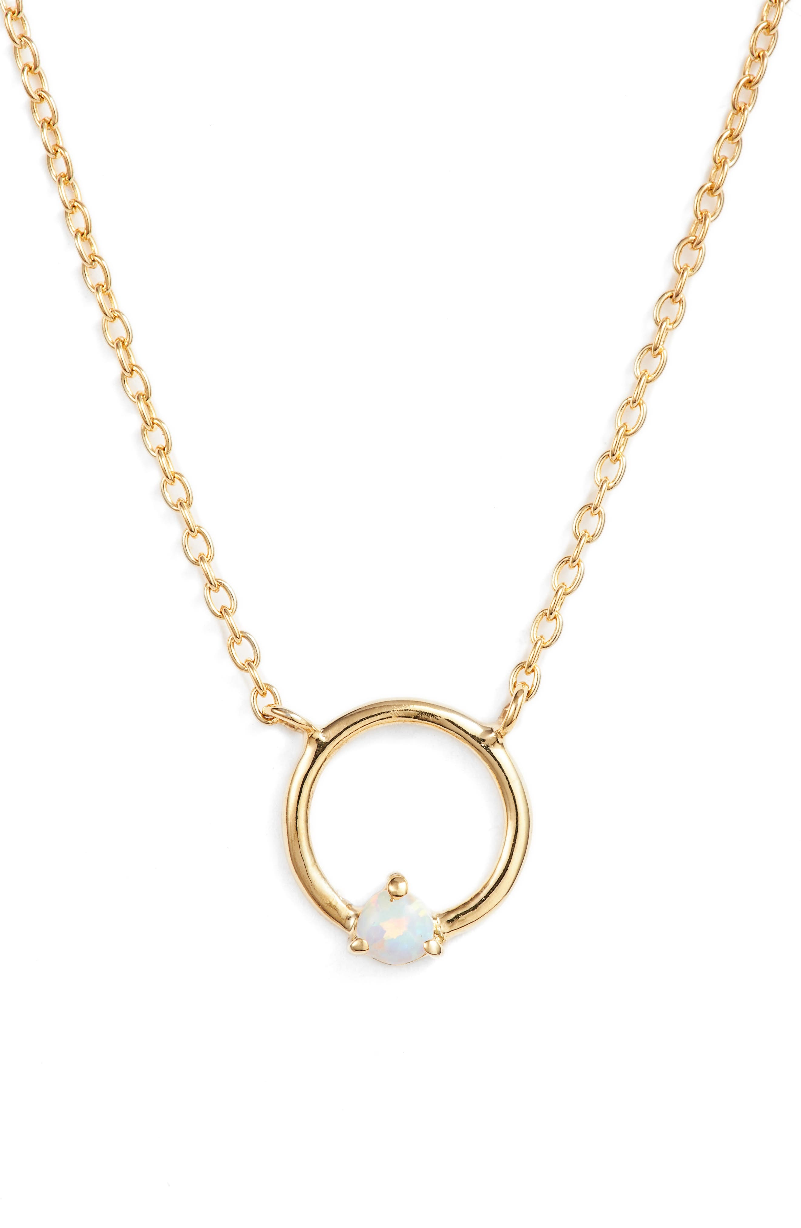 Sydney Opal Open Ring Pendant Necklace,                         Main,                         color, Gold