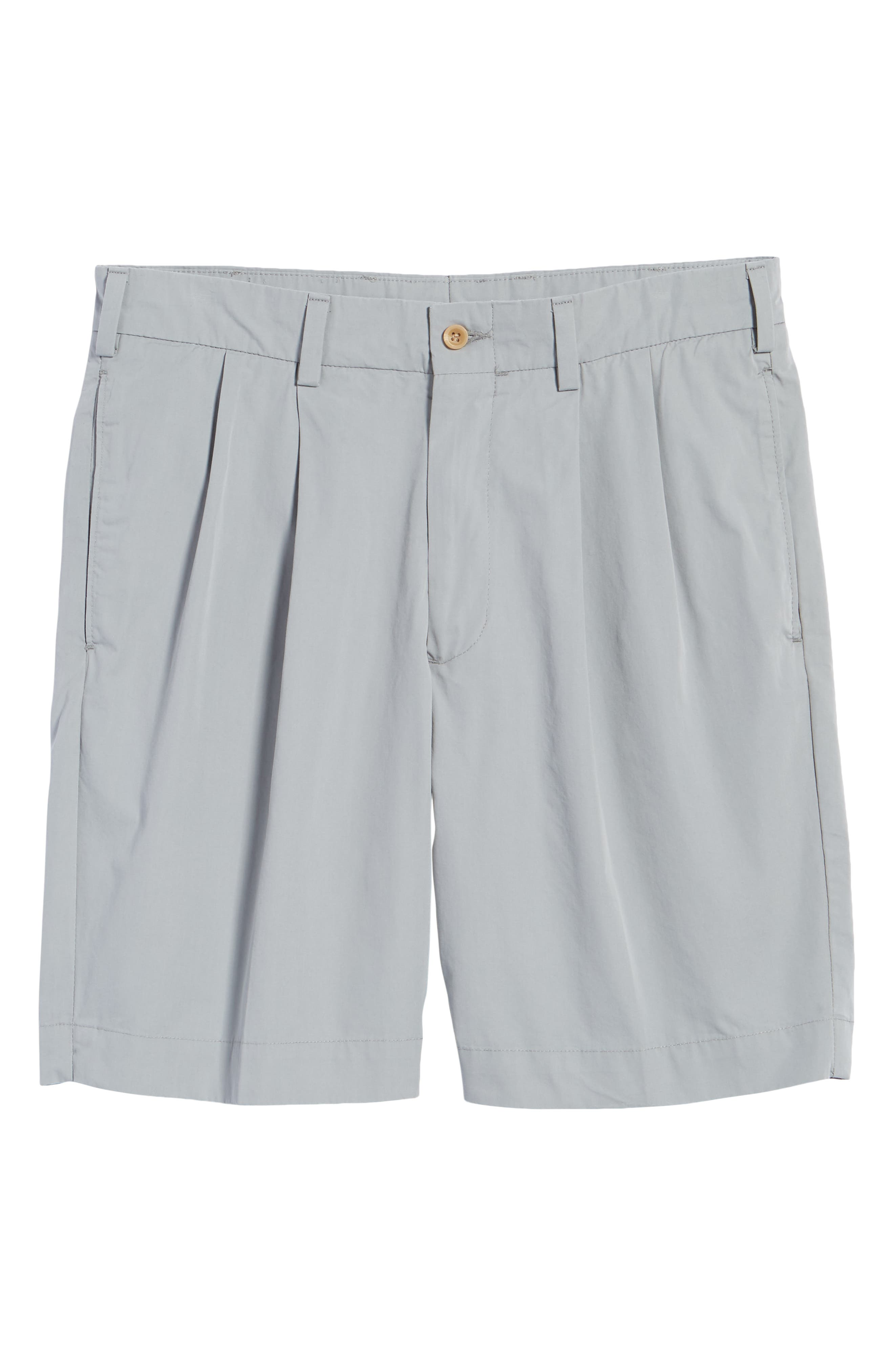 M2 Classic Fit Pleated Tropical Cotton Poplin Shorts,                             Alternate thumbnail 6, color,                             Nickel