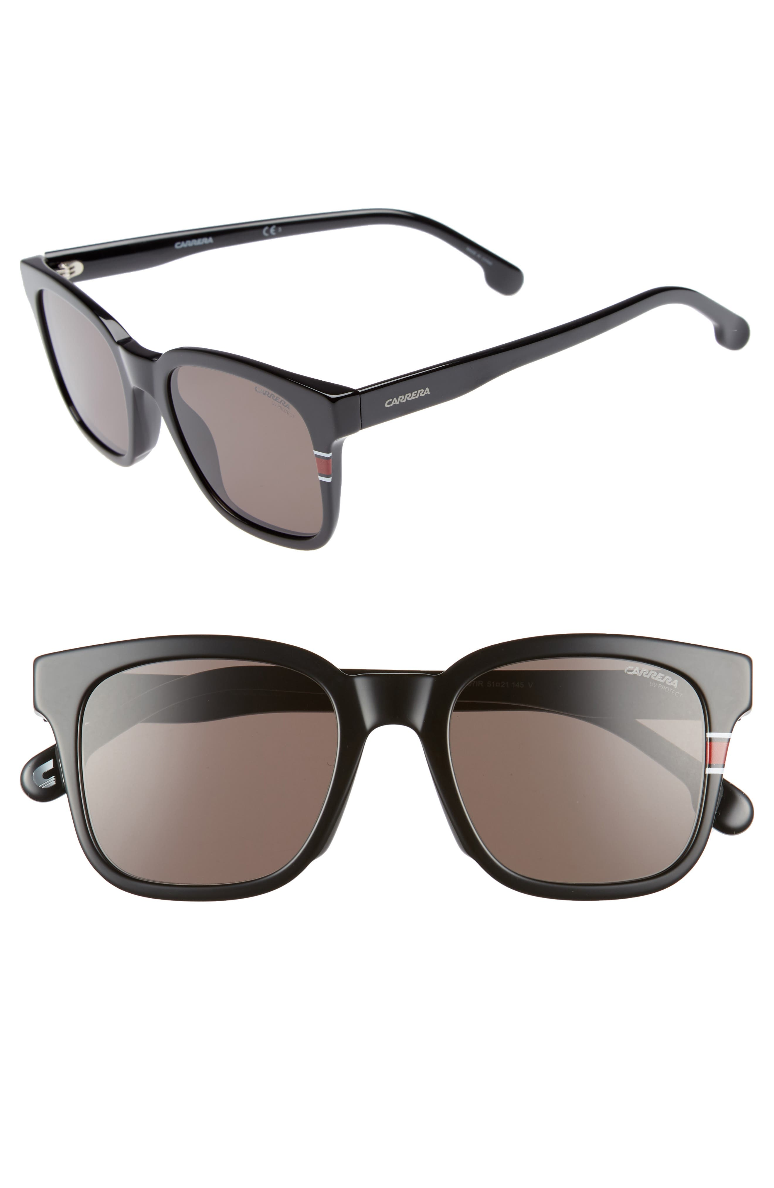 51mm Polarized Sunglasses,                             Main thumbnail 1, color,                             Black/ Grey Blue