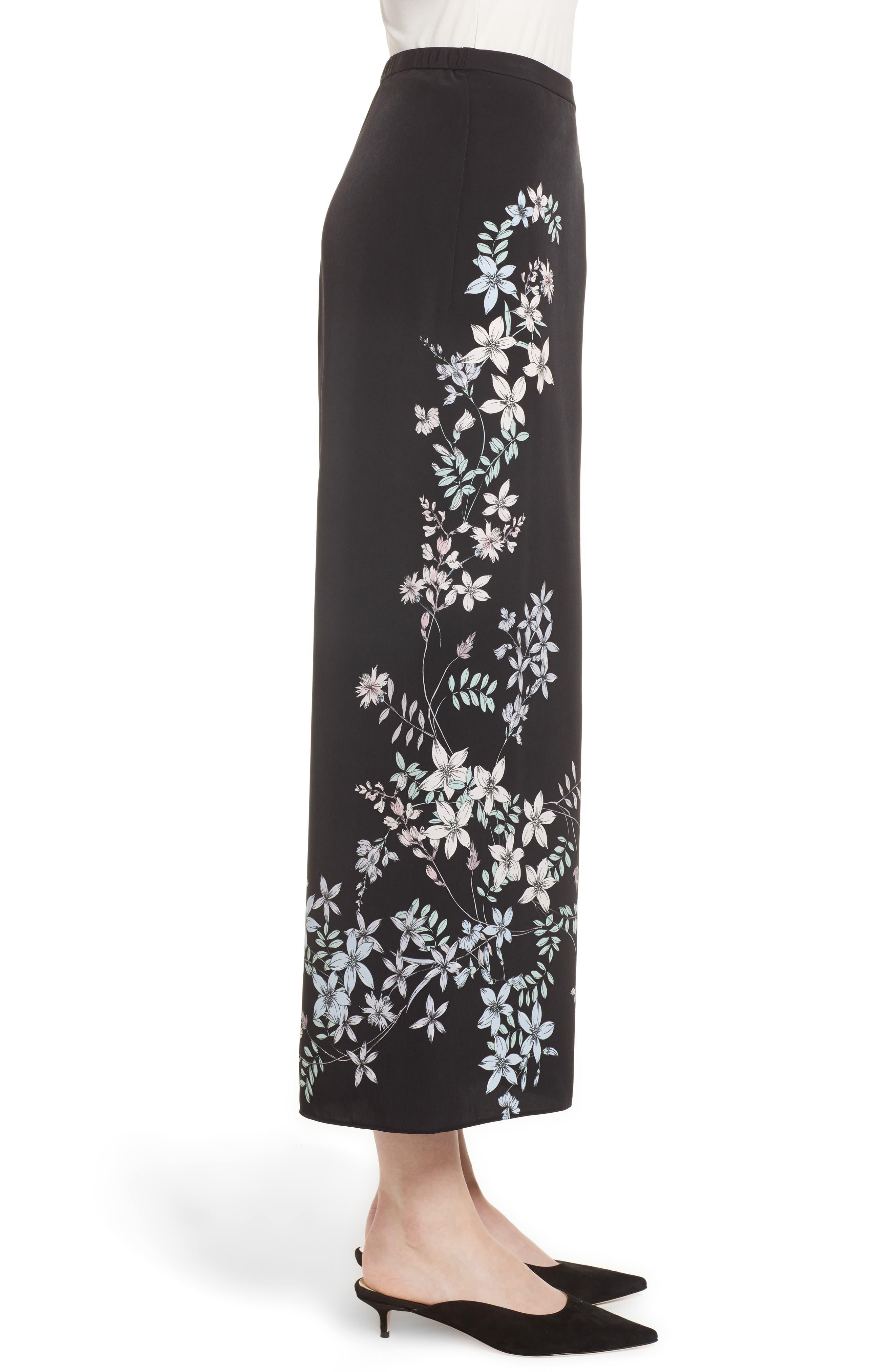 Floral Wide Leg Crop Pants,                             Alternate thumbnail 3, color,                             Rich Black